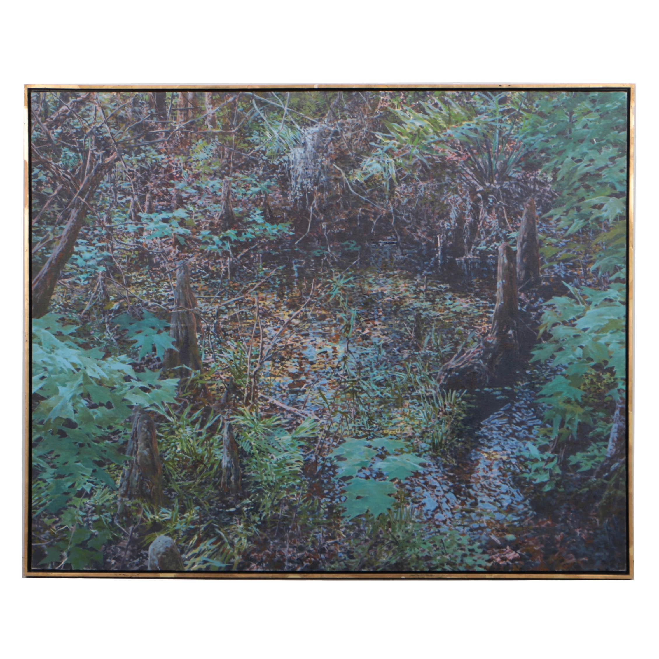"""Bruce Marsh Monumental Oil Painting """"Barley Barber Swamp"""""""