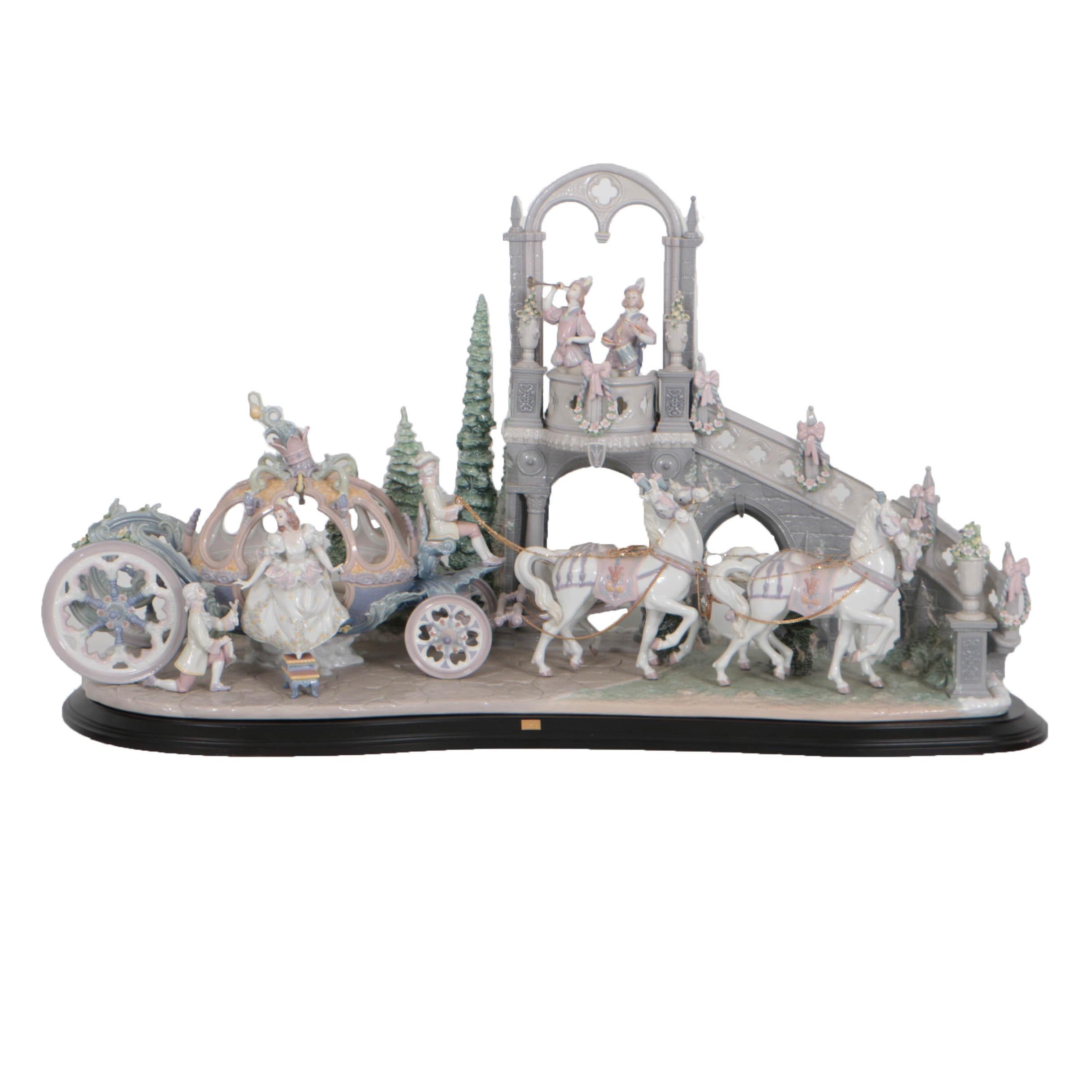 "Monumental Limited Edition Lladró ""Cinderella's Arrival"" Porcelain Figurine"