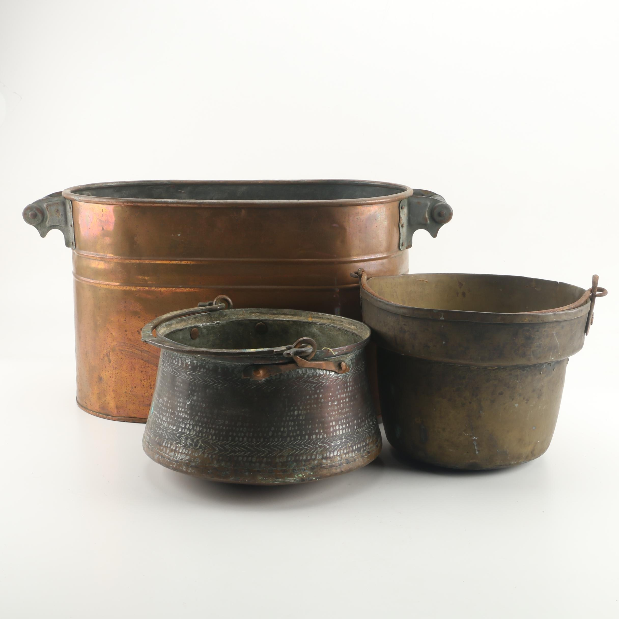 Copper Boiler Tub with a Brass and Copper Pot
