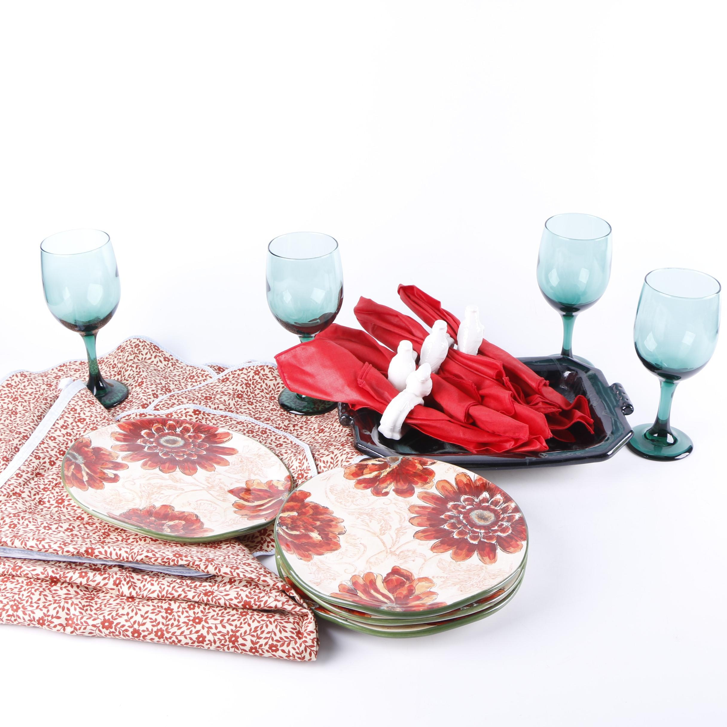 Red Floral Luncheon Set for Four with Handmade Studio Pottery Platter