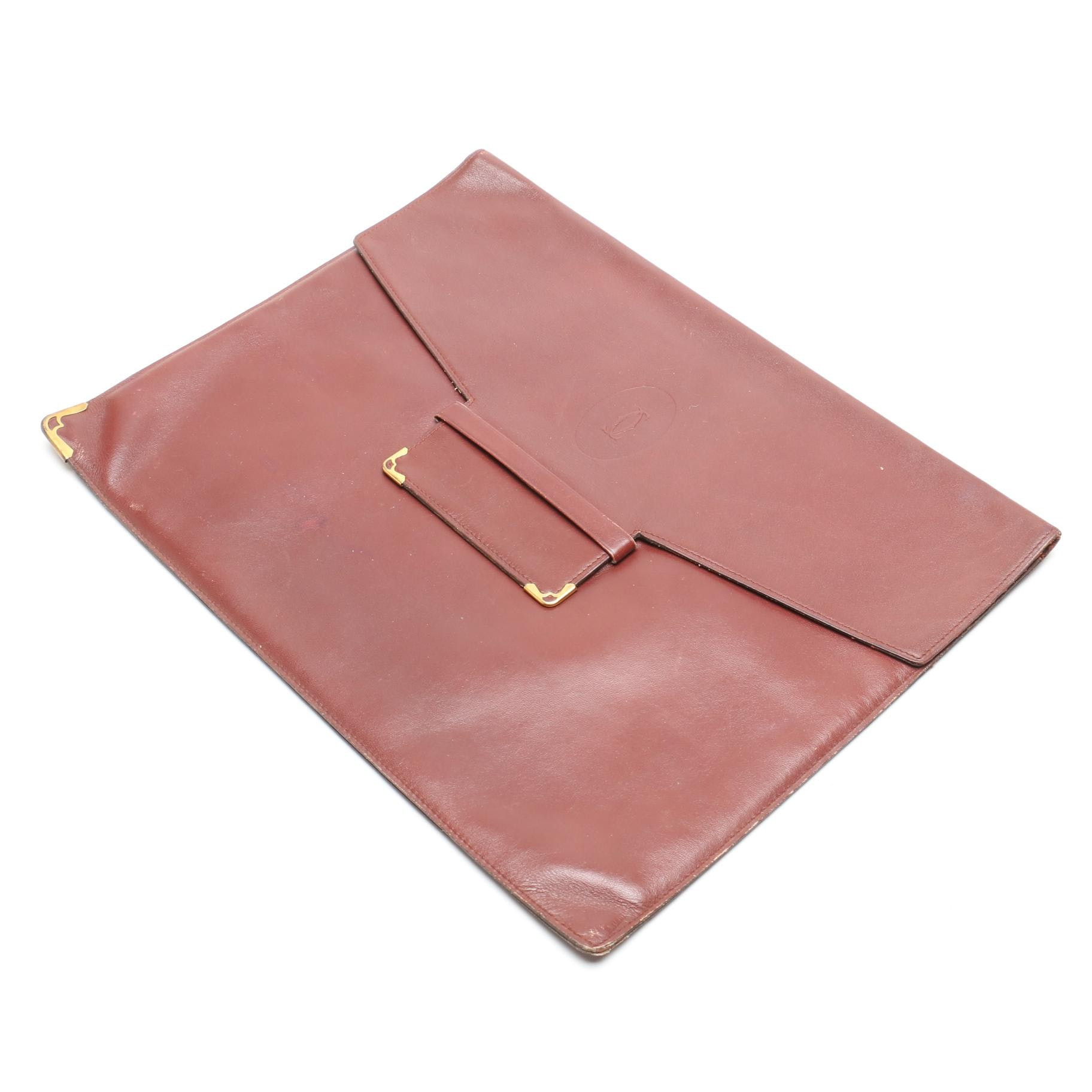 Vintage Cartier of Paris Burgundy Leather Clutch