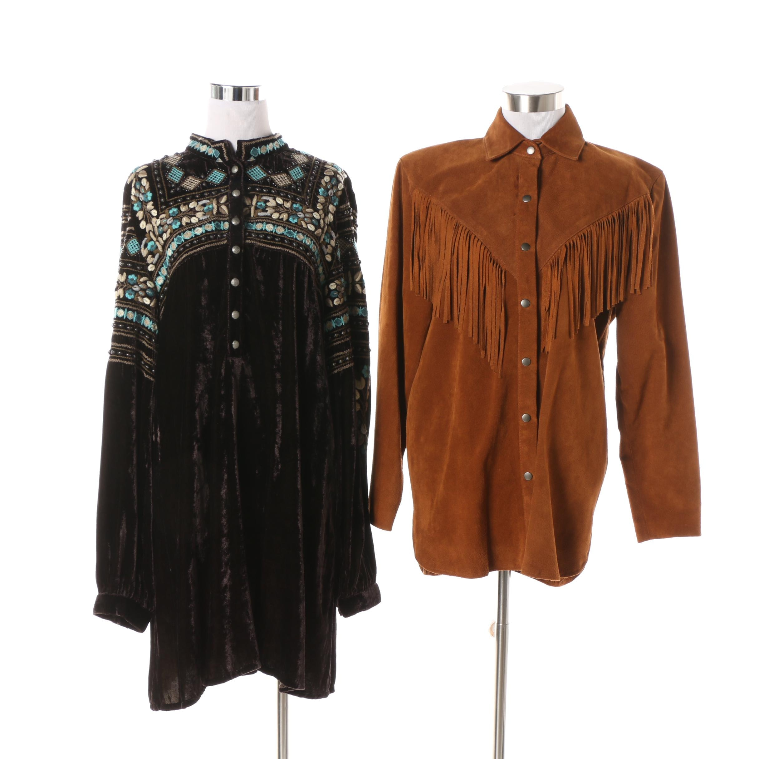 Kenar Leathers Fringed Suede Jacket and Double D Ranch Embroidered Tunic/Dress