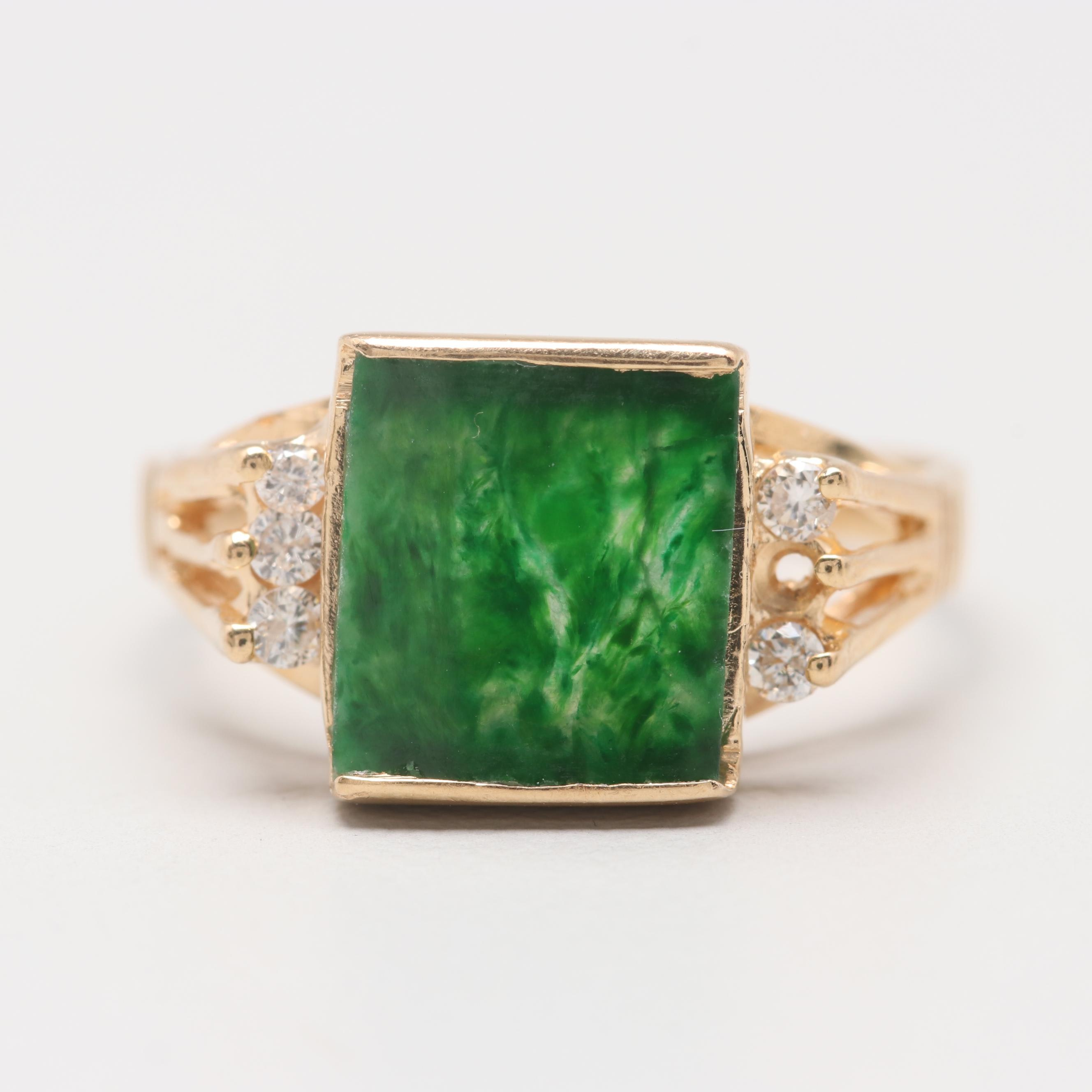 18K Yellow Gold Green Agate and Diamond Ring