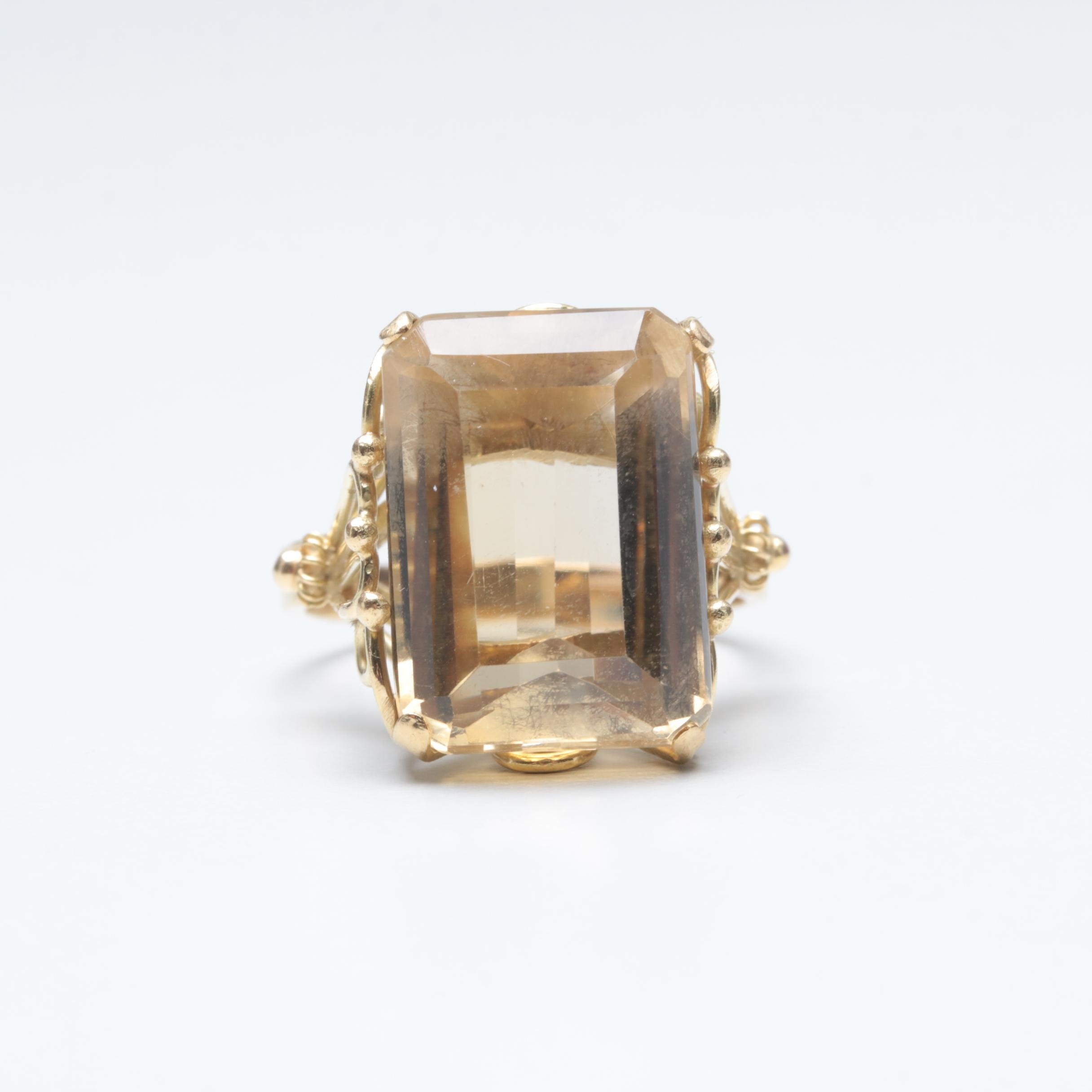 Vintage 18K Yellow Gold 12.57 CT Citrine Ring