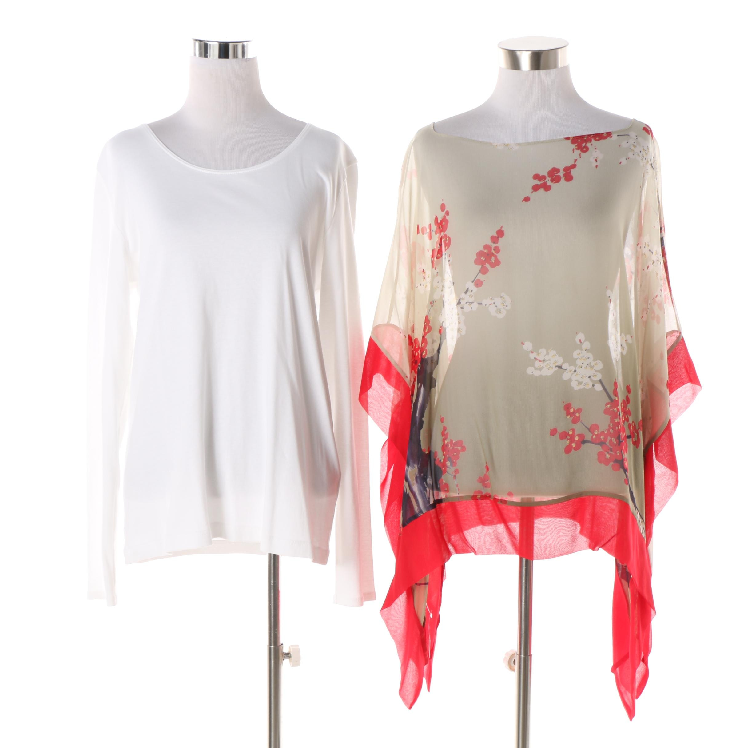 Women's Harari Silk Poncho and J. Jill Long Sleeve Cotton Top