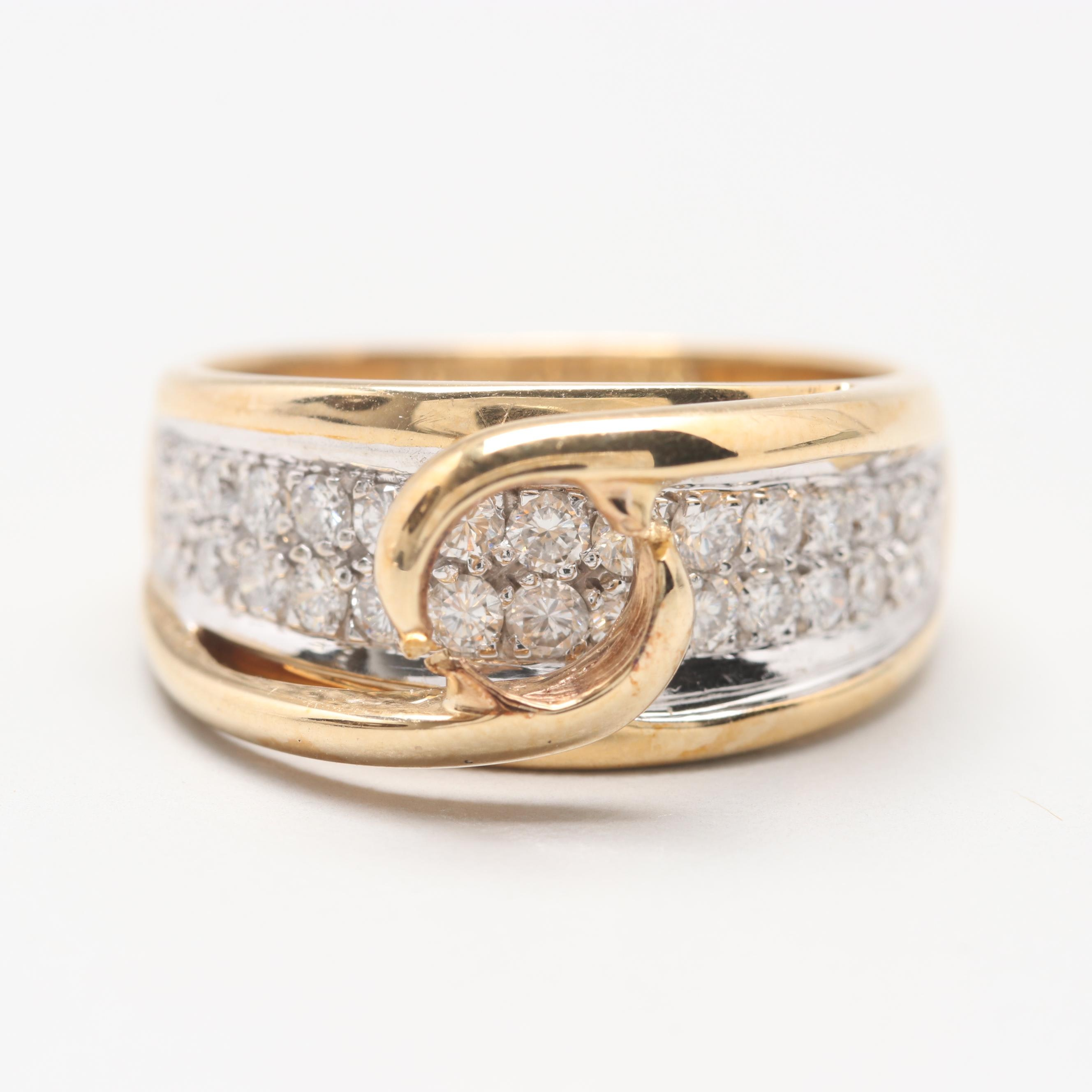 14K Yellow Gold Diamond Semi Mount Ring