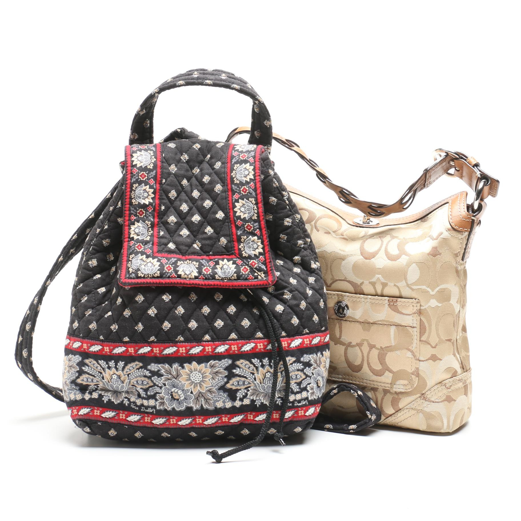 Coach Chelsea Signature Optic Hobo Bag and Vera Bradley Mimi Quilted Backpack