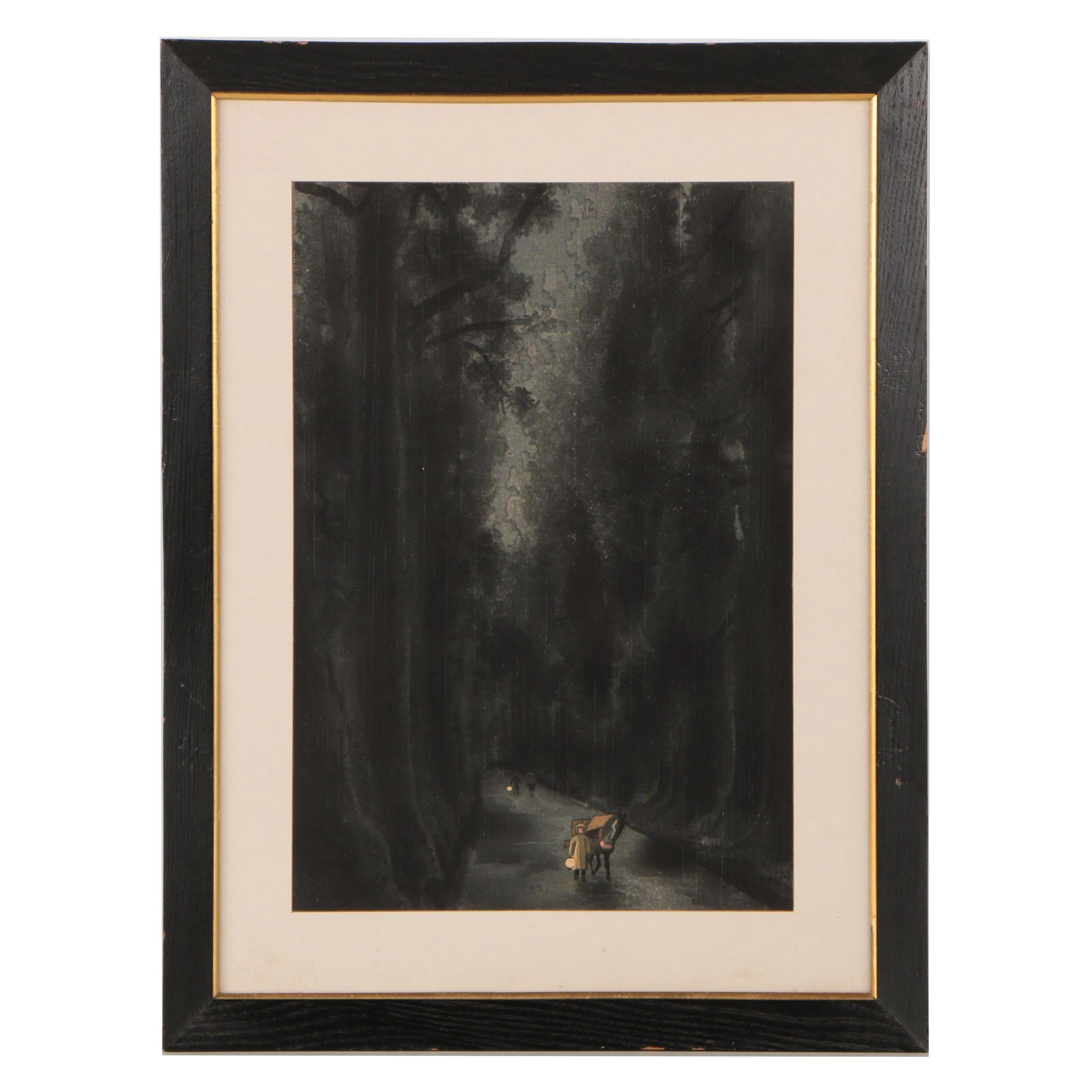 "Kotozuka Eiichi ""Cedar Avenue of Nikkō"" Shin-Hanga Woodblock Print"