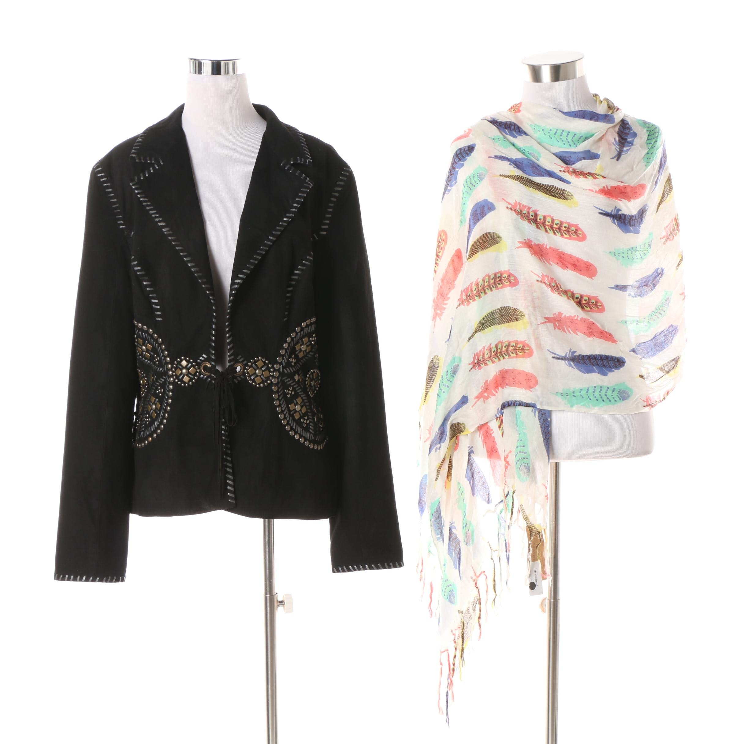 Women's Double D Ranch of Texas Black Suede Jacket with Look Feather Print Scarf