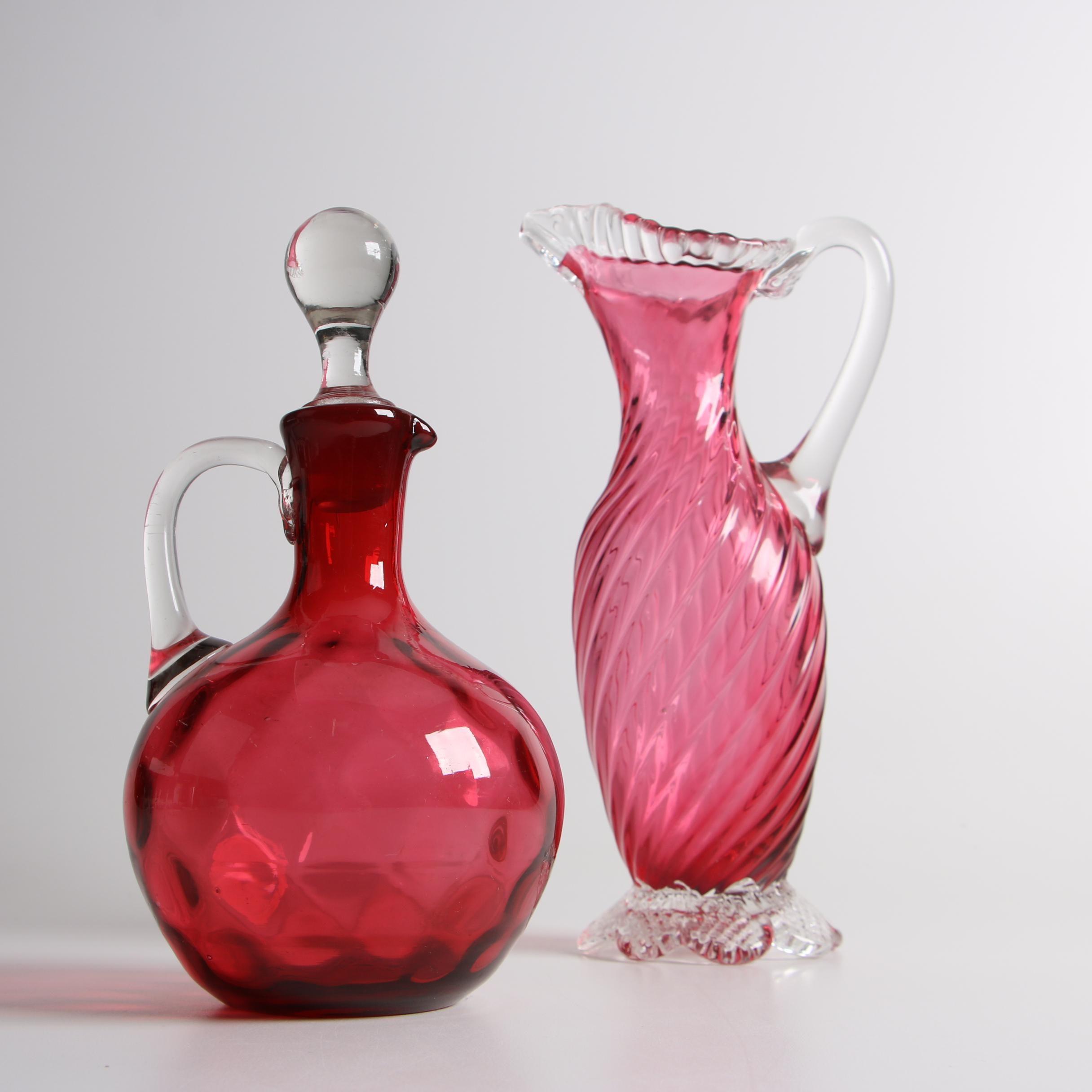 Antique Victorian Blown Cranberry Glass Cruet and Ewer
