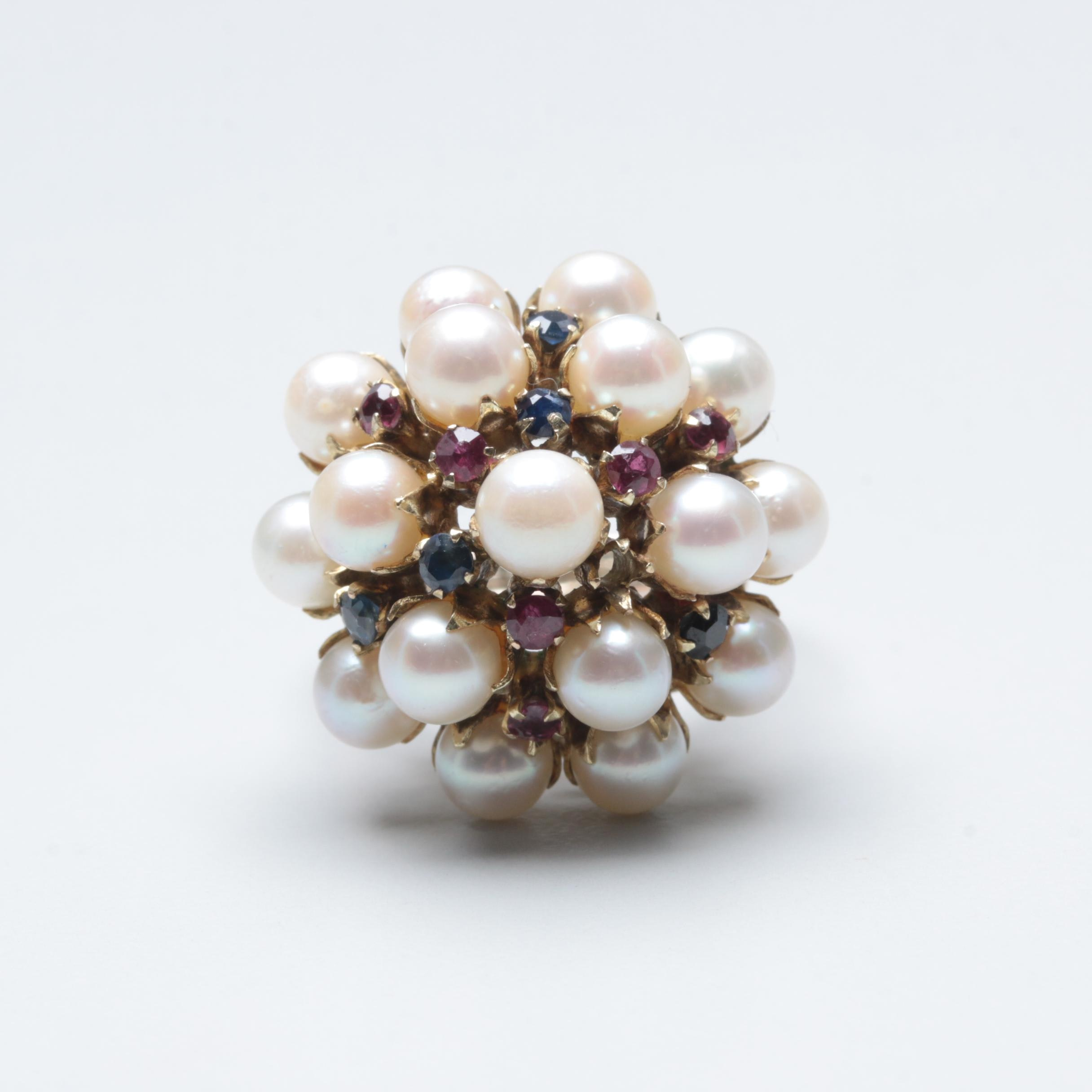 10K and 14K Yellow Gold Cultured Pearl, Sapphire, and Ruby Domed Ring