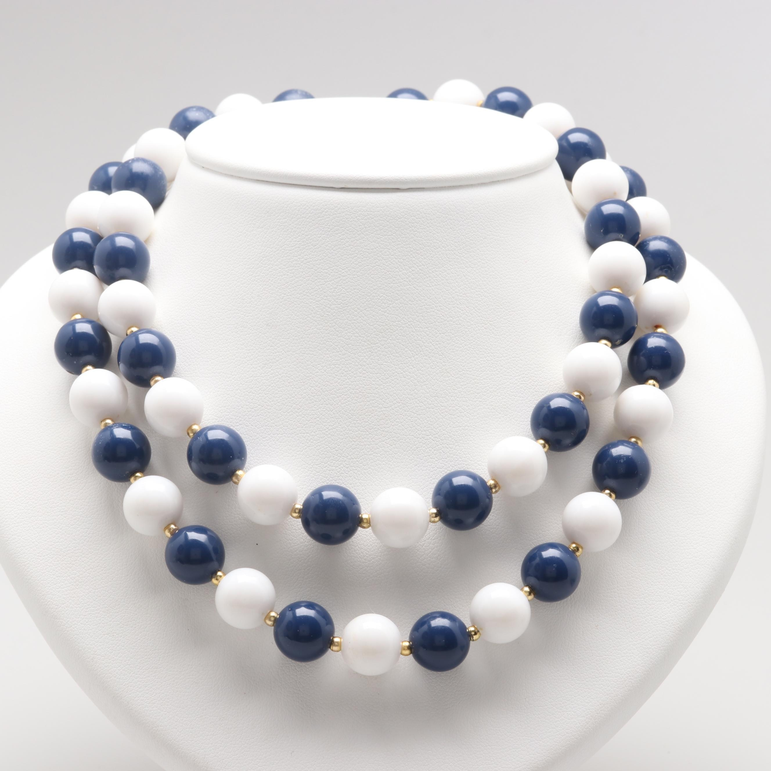 White and Blue Plastic Beaded Necklace with Gold Tone Findings