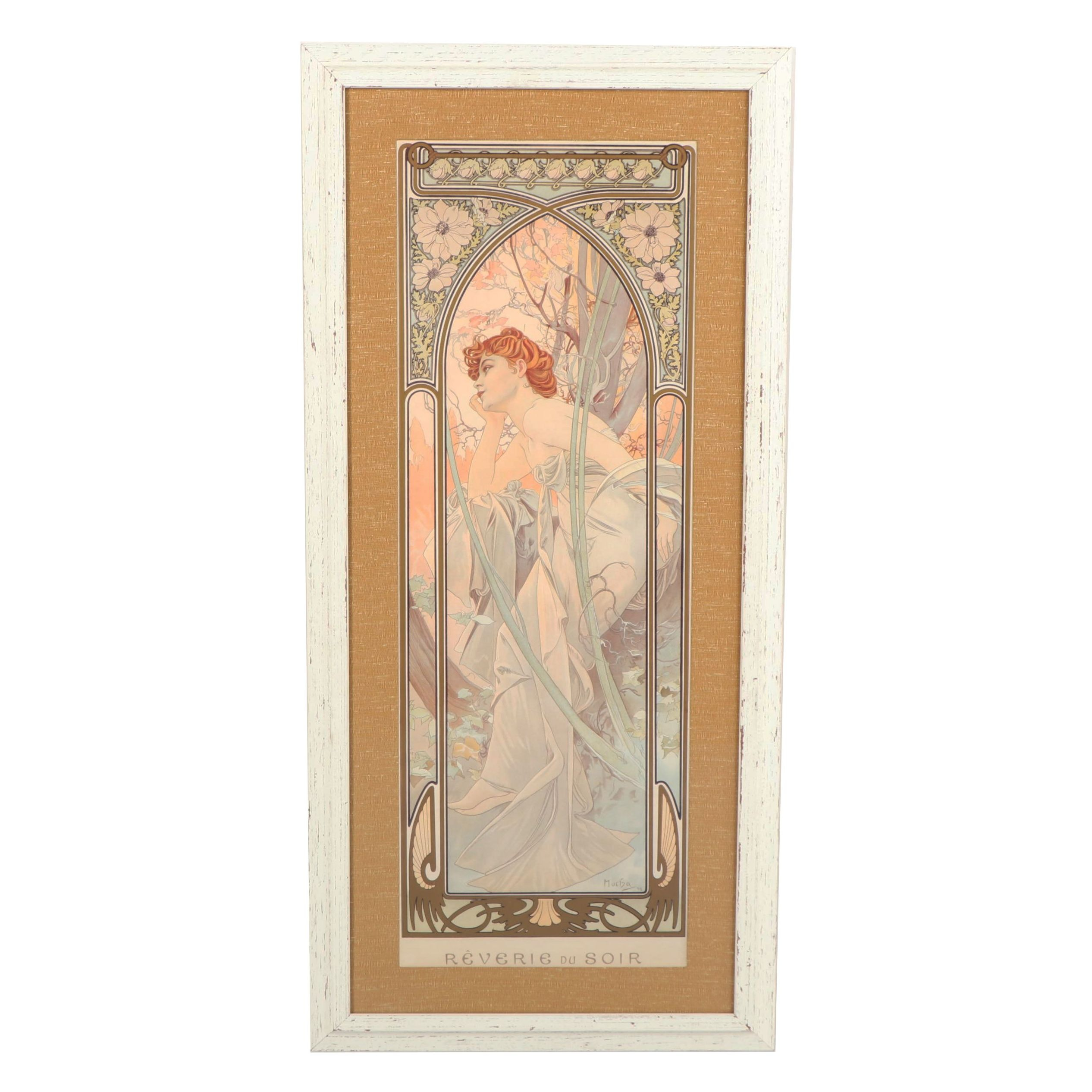 "Offset Lithograph after Alphonse Mucha ""Reverie du Soir"""
