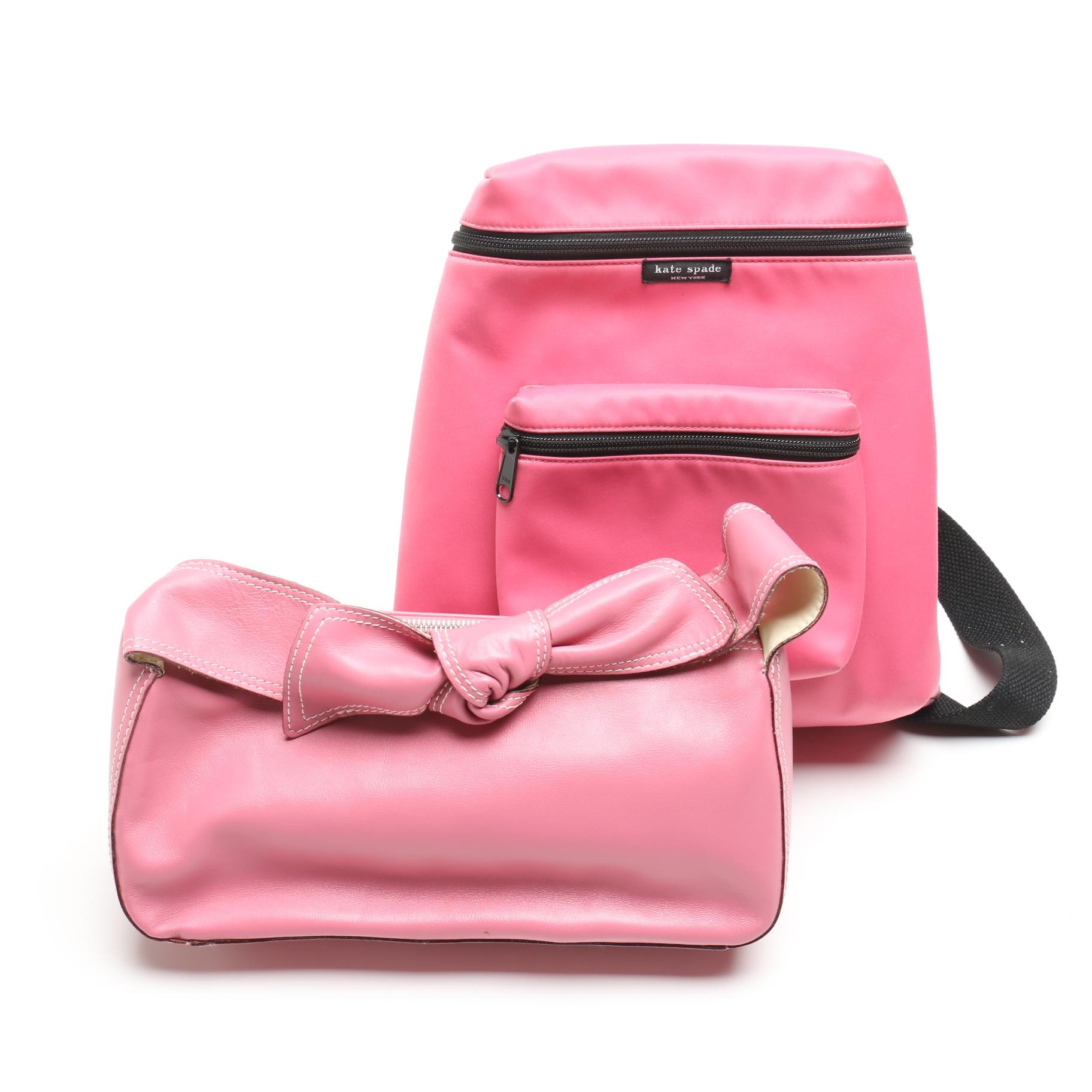 Kate Spade New York Pink Mini Backpack and Leather Bow Baguette