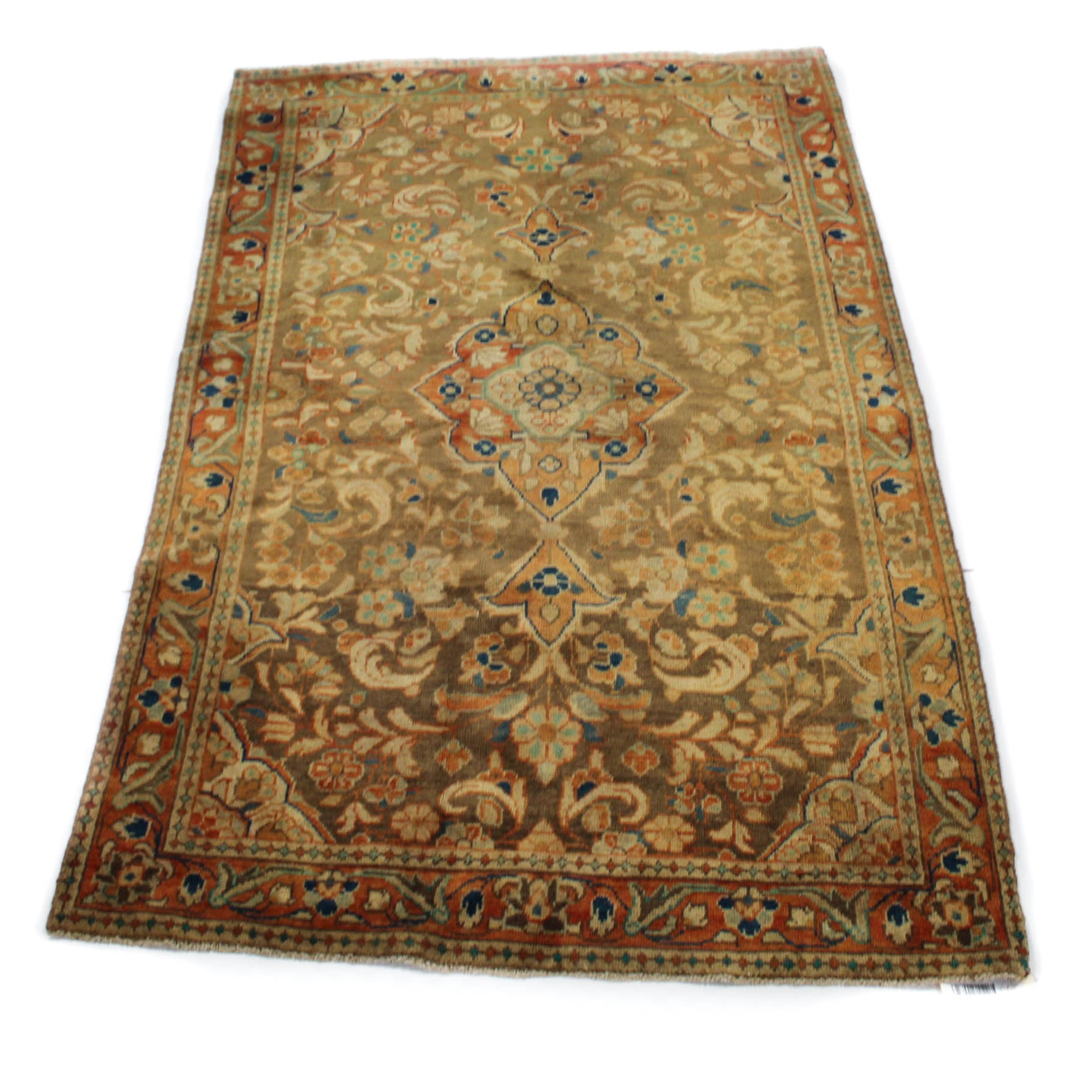 Vintage Hand-Knotted Indo-Persian Sarouk Rug