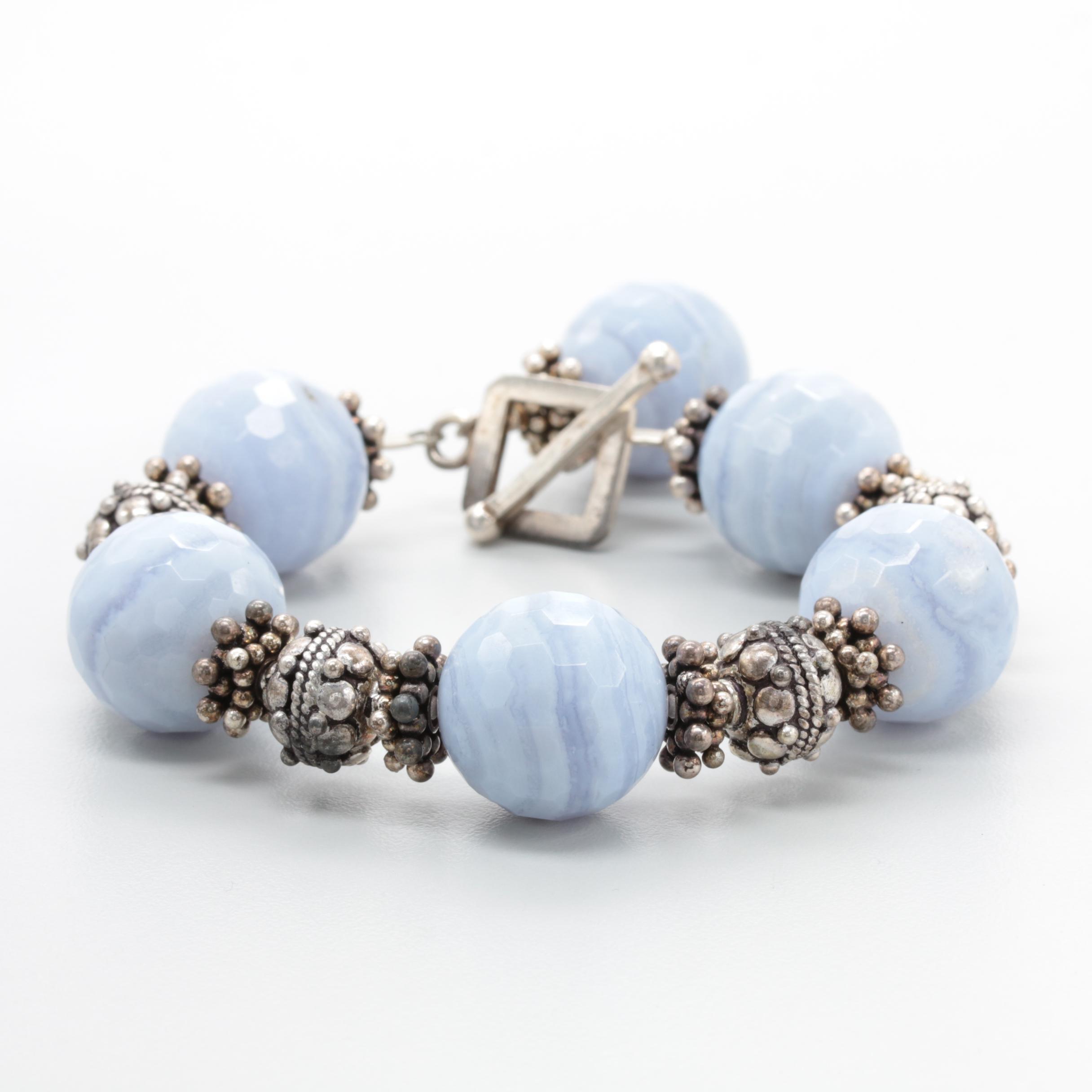 Saki Sterling Silver Blue Lace Agate Bracelet