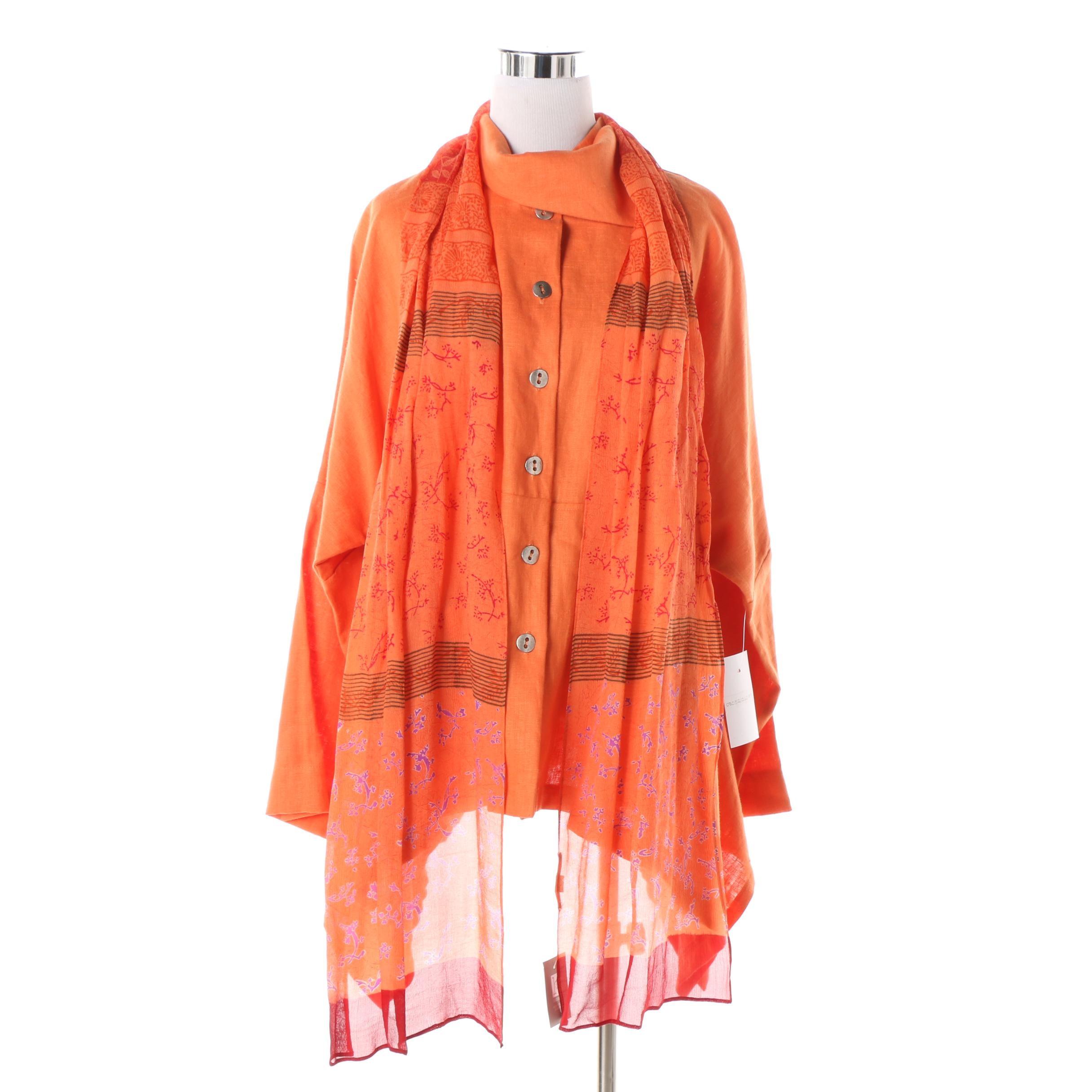 Itemz by Chris Baumgartner Orange Linen Poncho Shirt and Harshita Silk Scarf