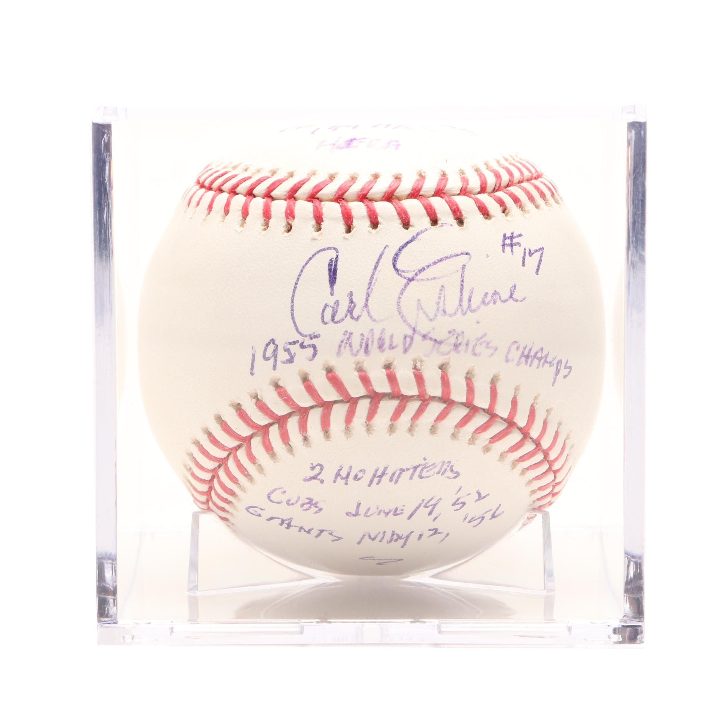 Carl Erskine Signed Rawlings MLB Stats Baseball JSA COA