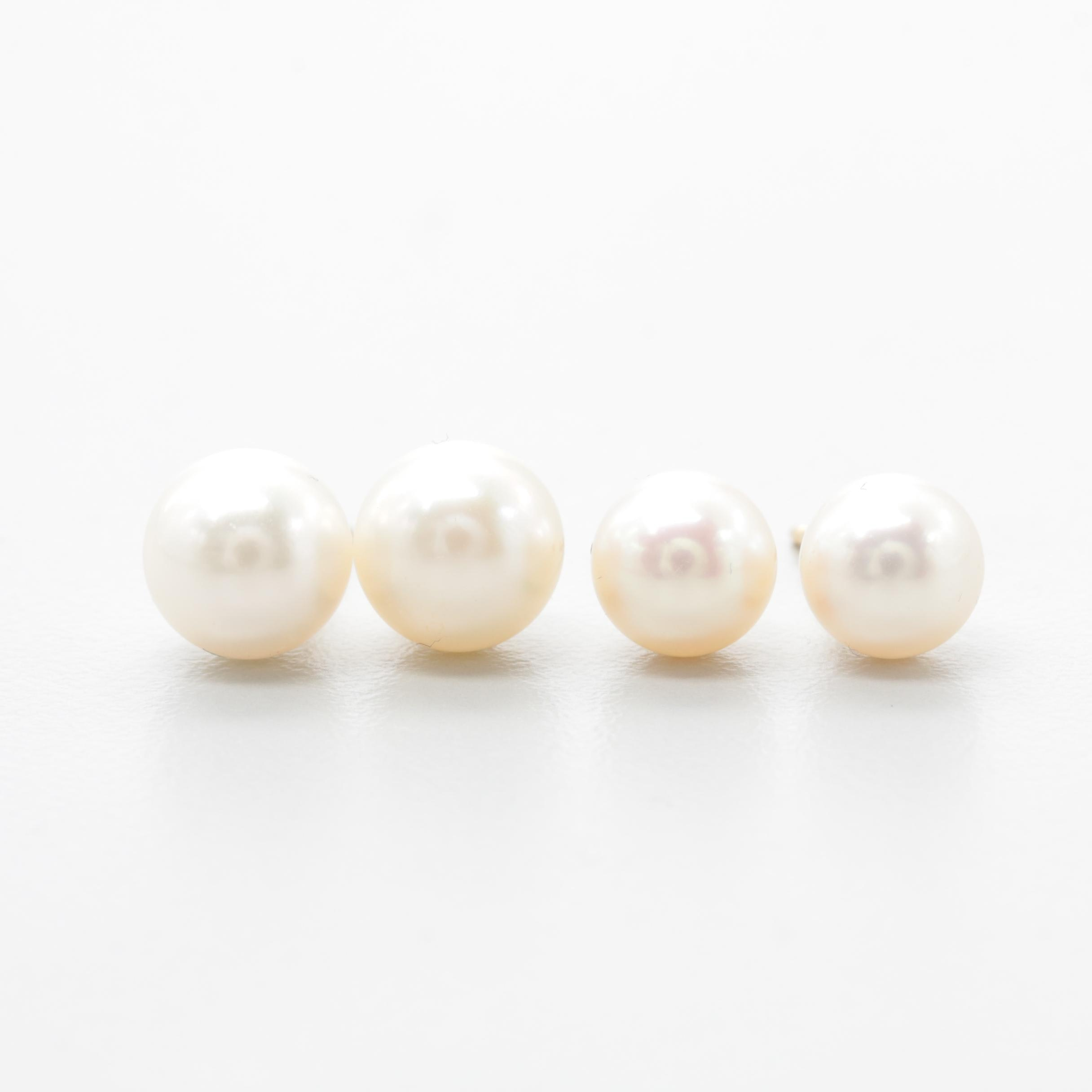 14K Yellow Gold Cultured Pearl Stud Earring Selection