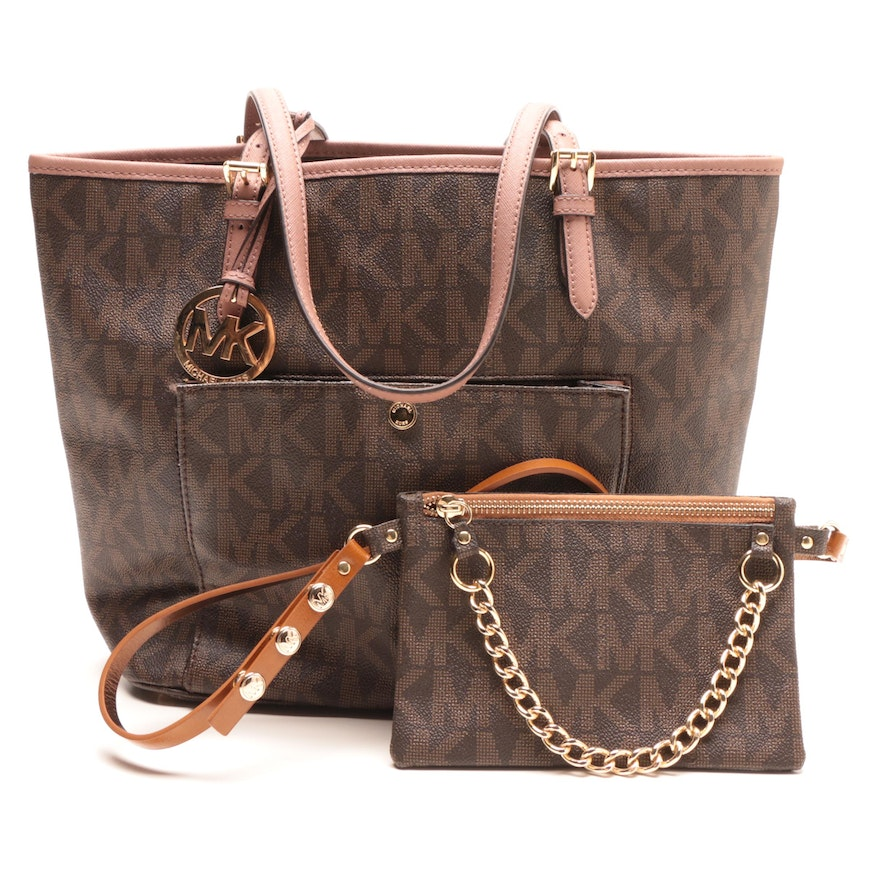 e19b07a2dbfd MICHAEL Michael Kors Coated Canvas Tote and Belt Bag : EBTH
