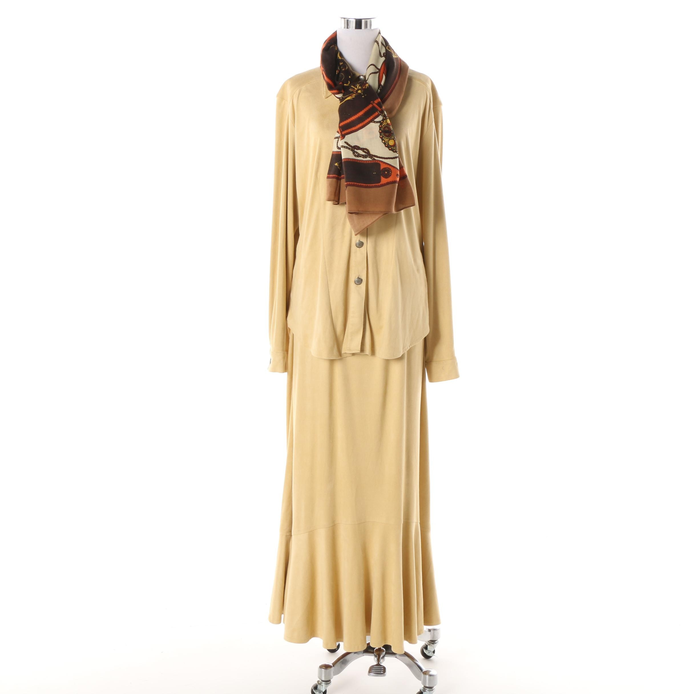 Double D Ranch of Texas Faux Suede Skirt Suit with Tasha Polizzi Scarf
