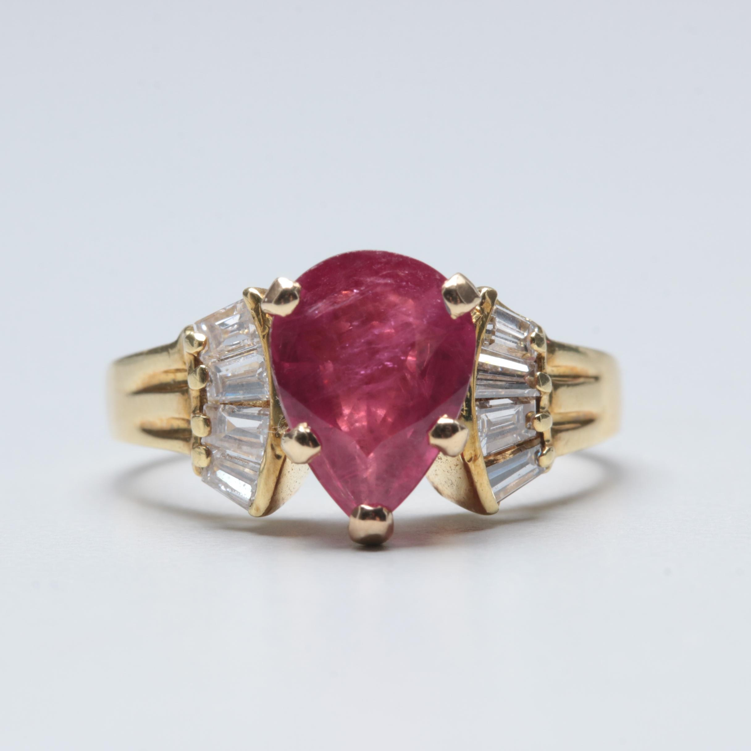 18K Yellow Gold 2.30 CT Ruby and Diamond Ring