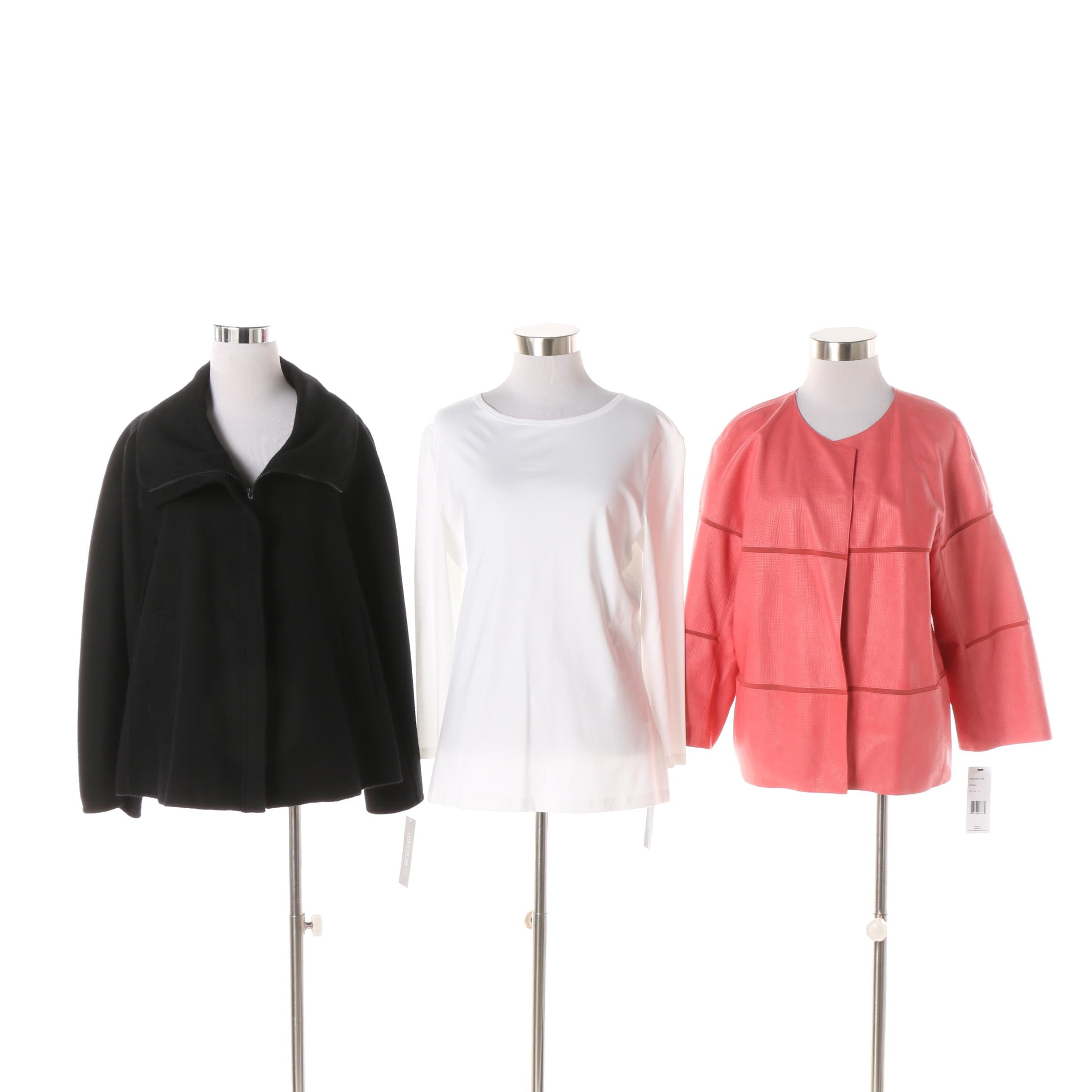 Lafayette 148 New York Coral Leather and Black Wool Blend Jackets and White Top