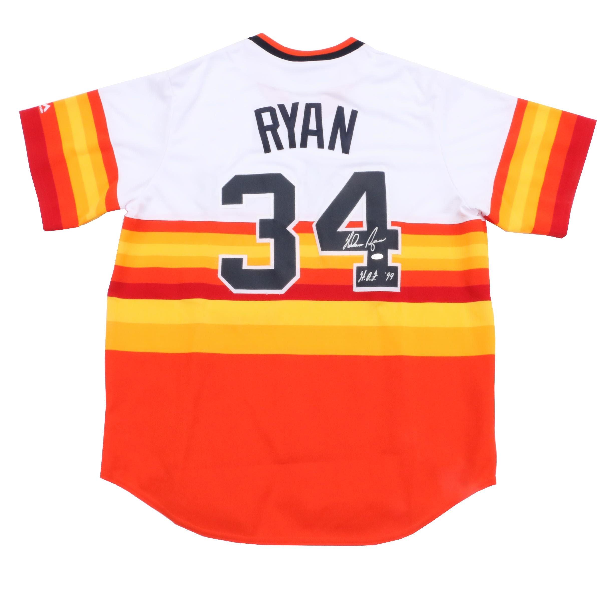 Nolan Ryan Signed Astros Throwback Jersey  COA