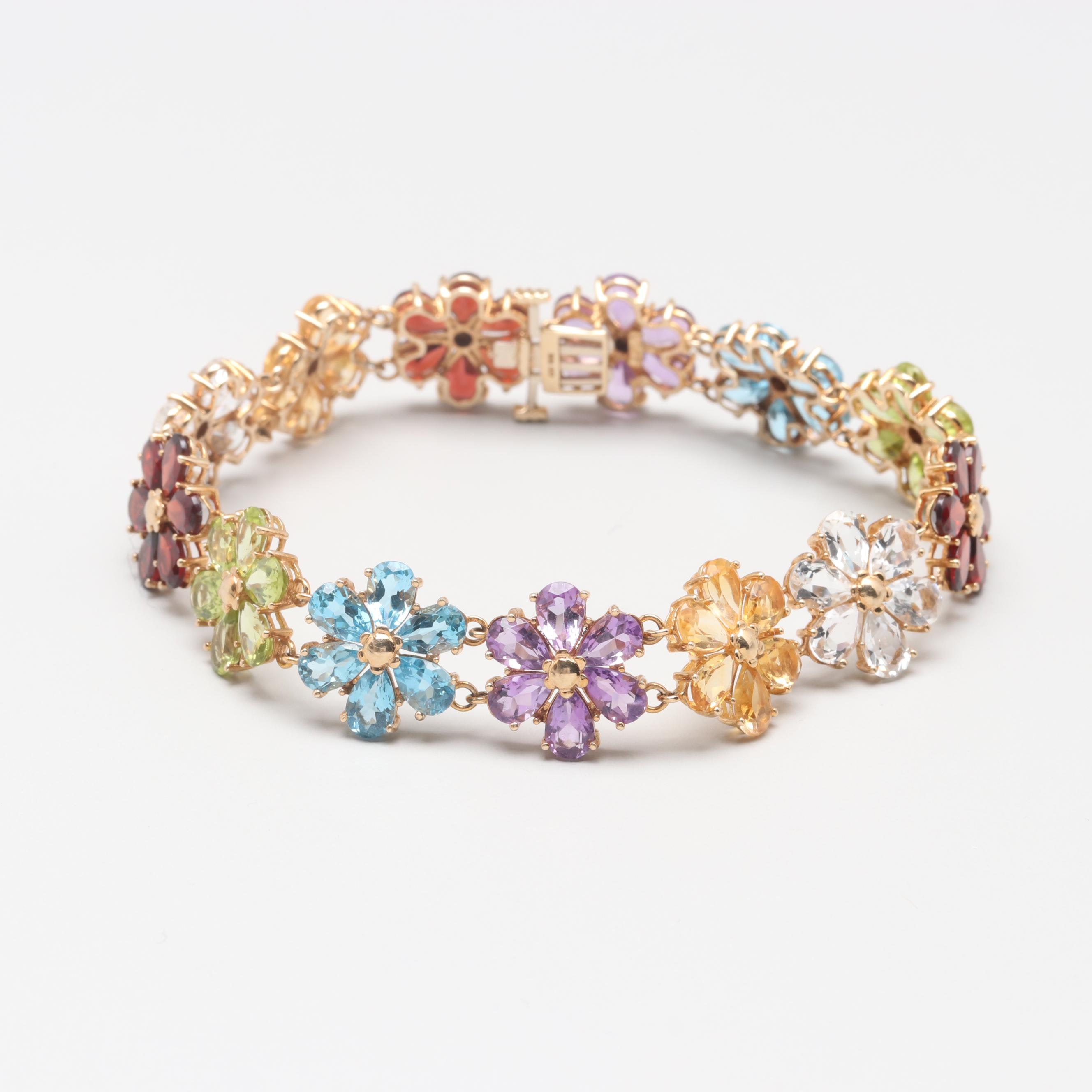 10K Yellow Gold Gemstone Flower Bracelet