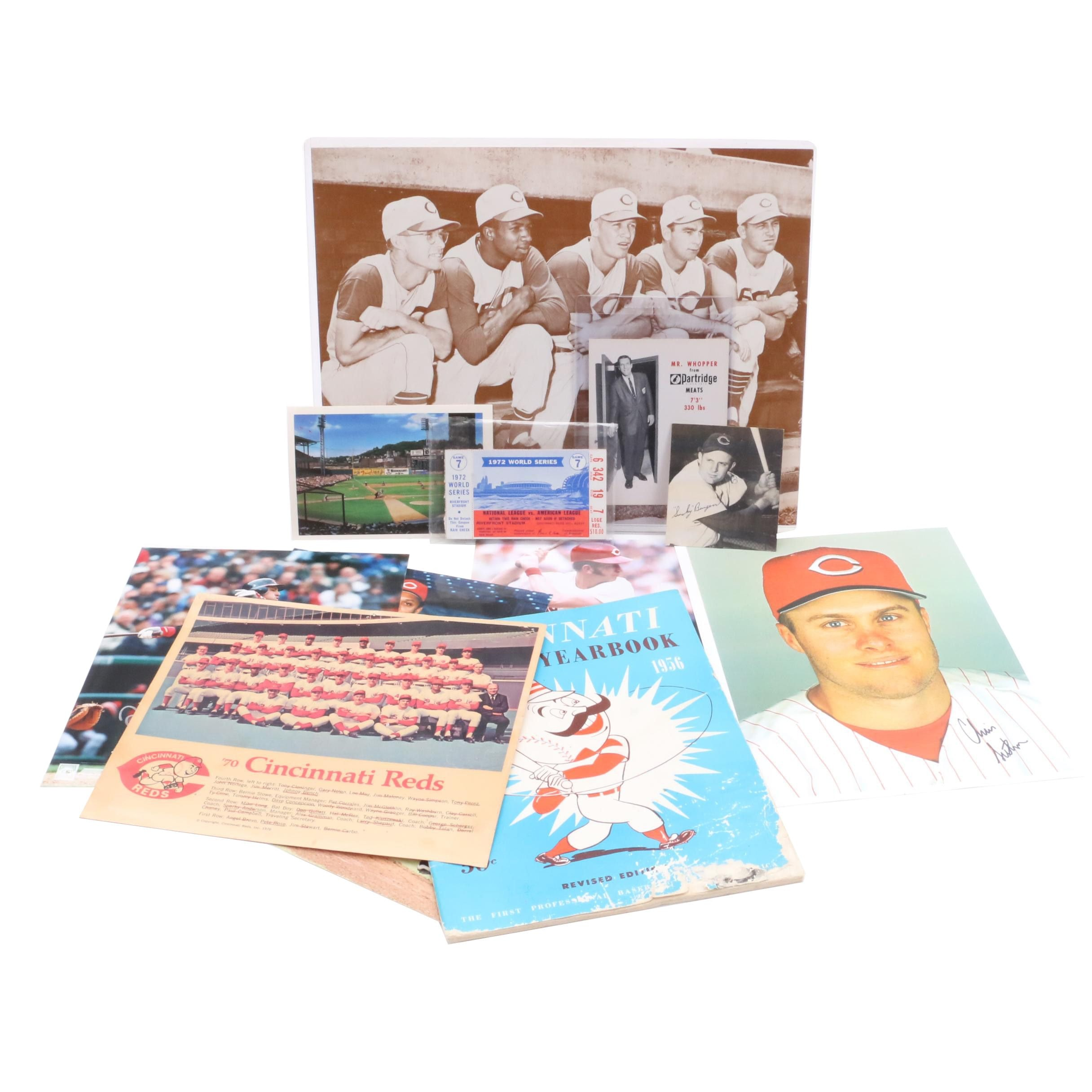 Mr. Whopper and Reds Items Including 1956 Yearbook, Signed Prints, Ticket Stub