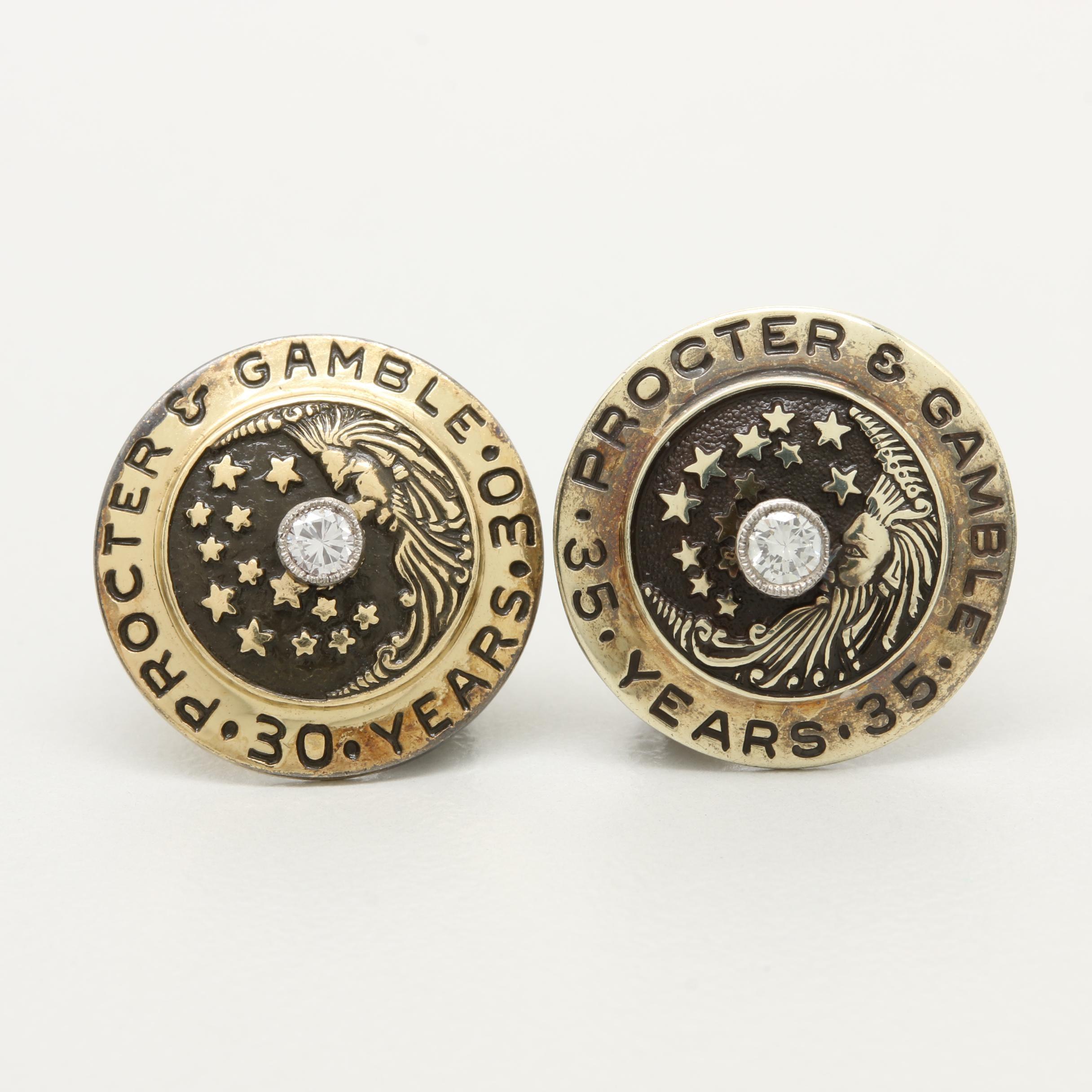 "10K Yellow Gold Diamond and Enamel ""Procter & Gamble 30 Years"" Service Pins"