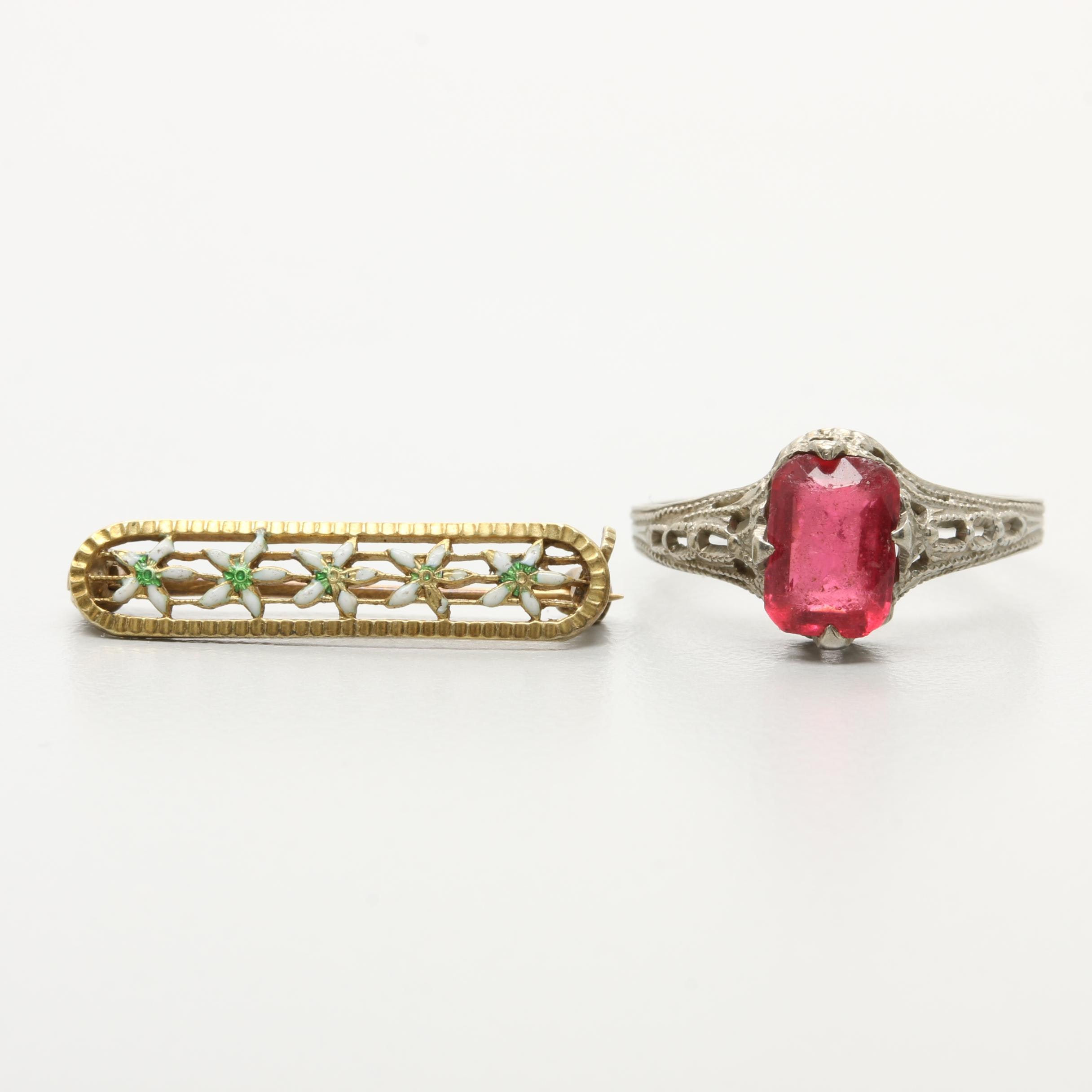 10K White Gold Glass Ring and 14K Yellow Gold Enamel Brooch