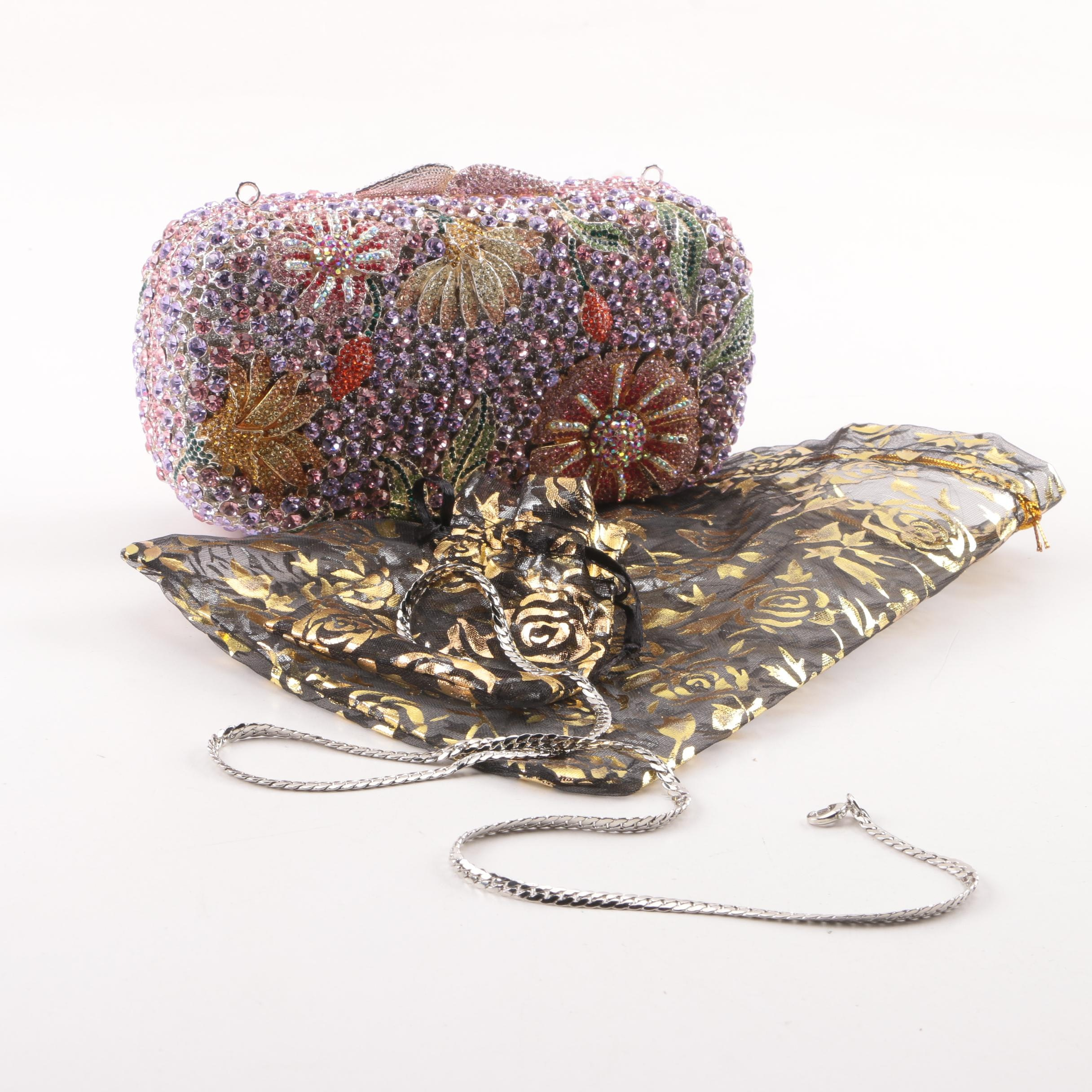 Floral Rhinestone Clutch with Removable Strap