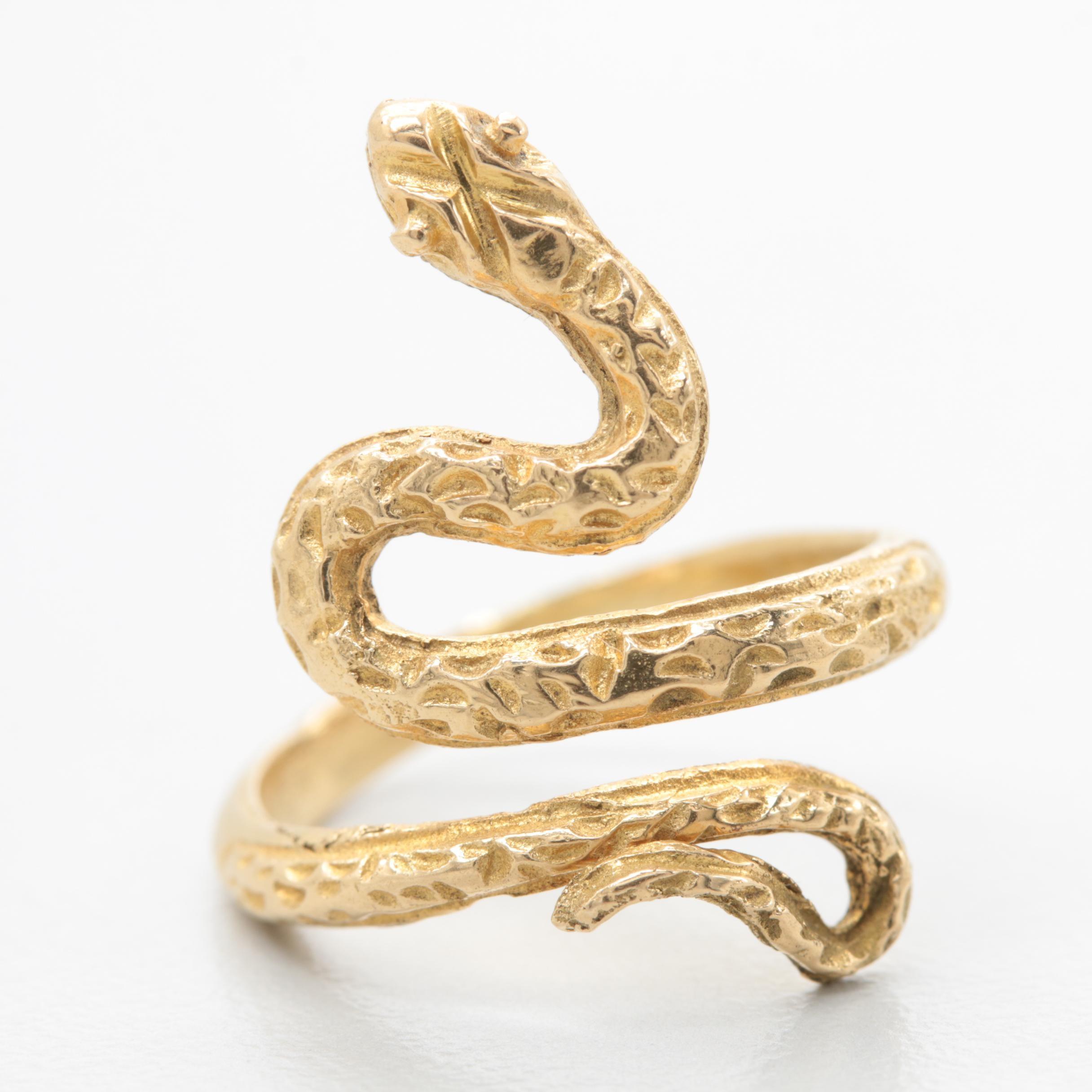 18K Yellow Gold Snake Motif Ring