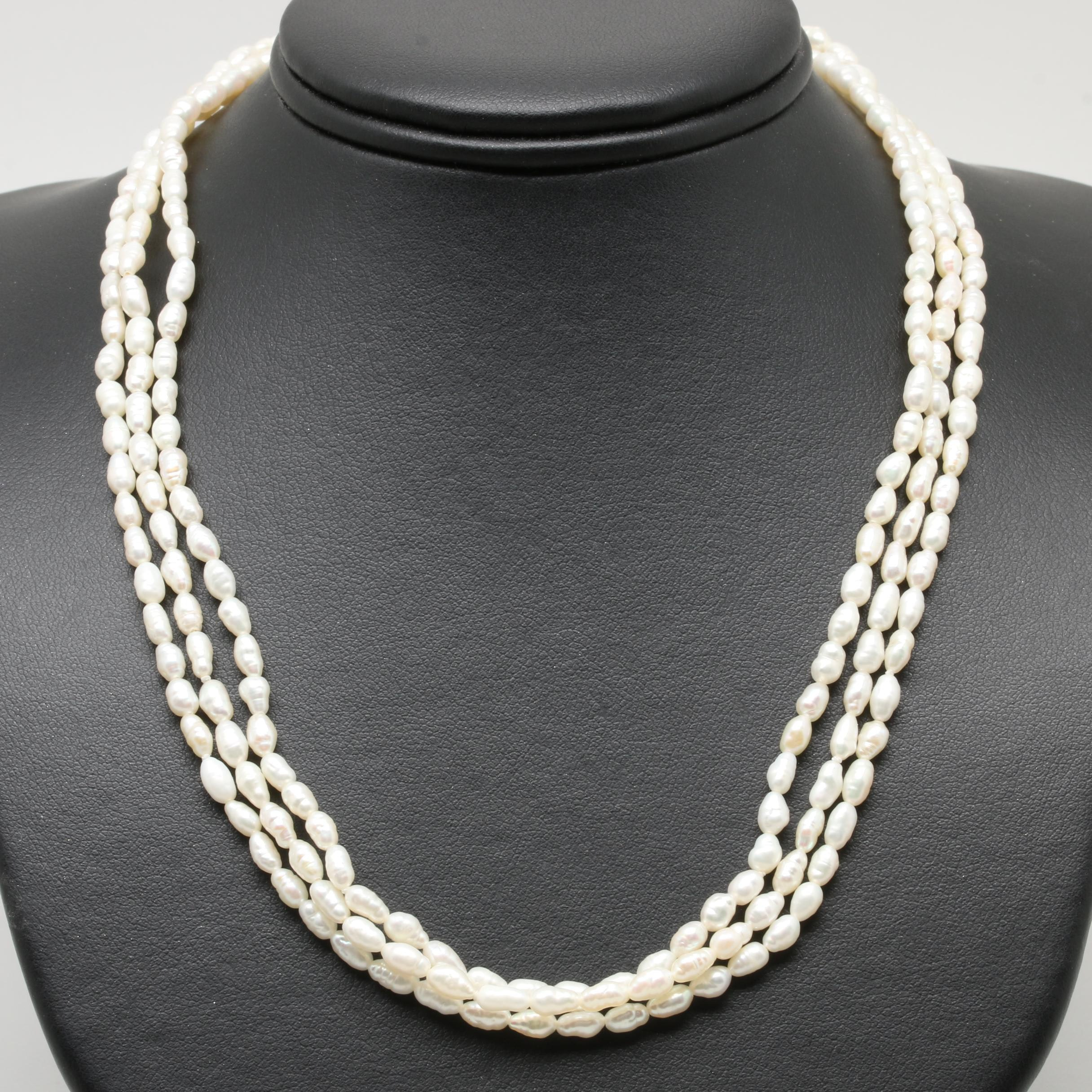 14K Yellow Gold Cultured Pearl Multi Strand Necklace