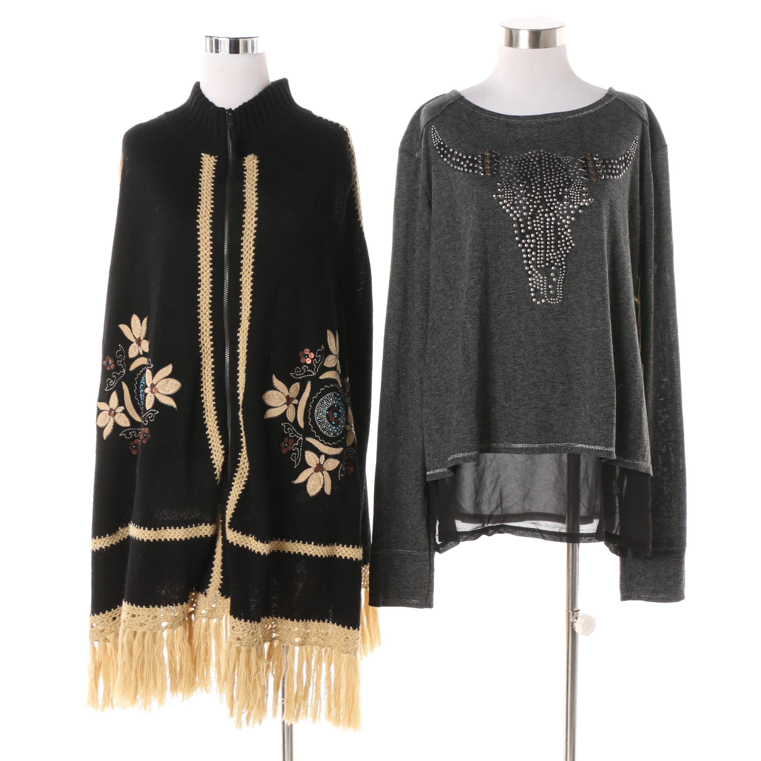 Double D Ranch of Texas Floral Appliqué Poncho and Steer Skull Studded Top