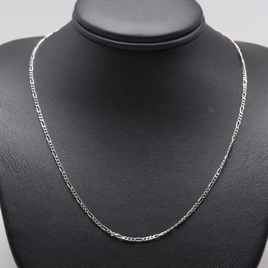 d4c053b08292 14K White Gold Figaro Link Chain Necklace   EBTH
