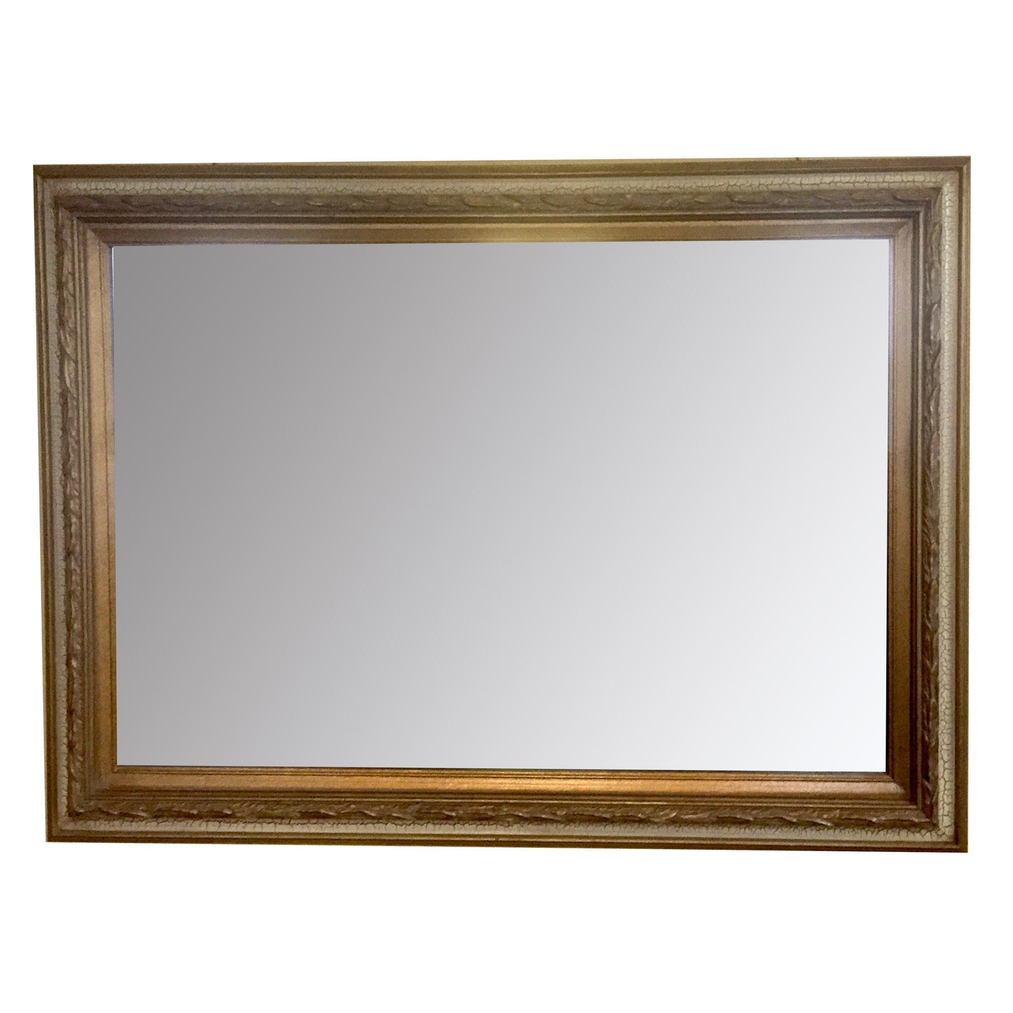 Large Beveled Satin Wood Wall Mirror
