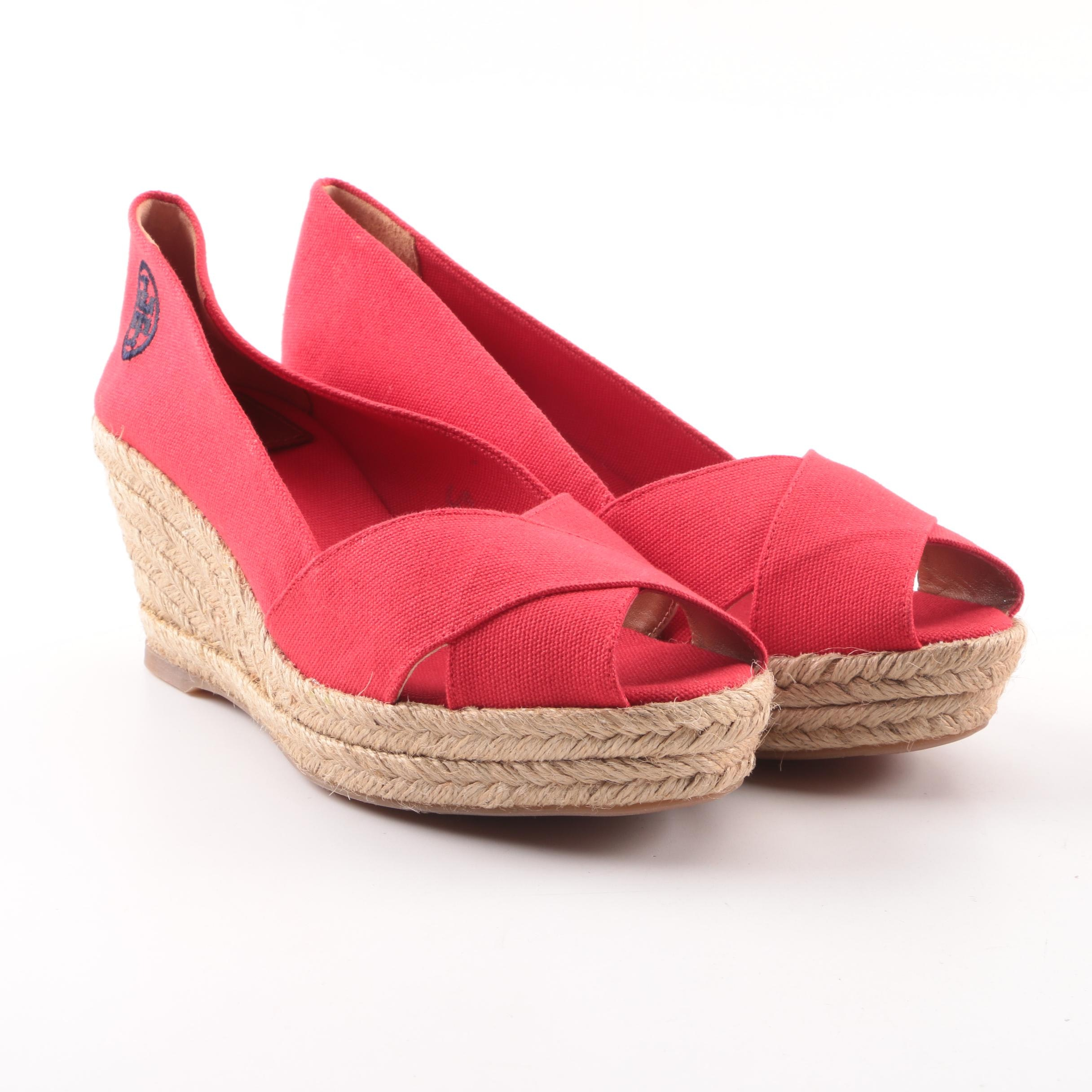 Tory Burch Judith Red Canvas Espadrille Wedges