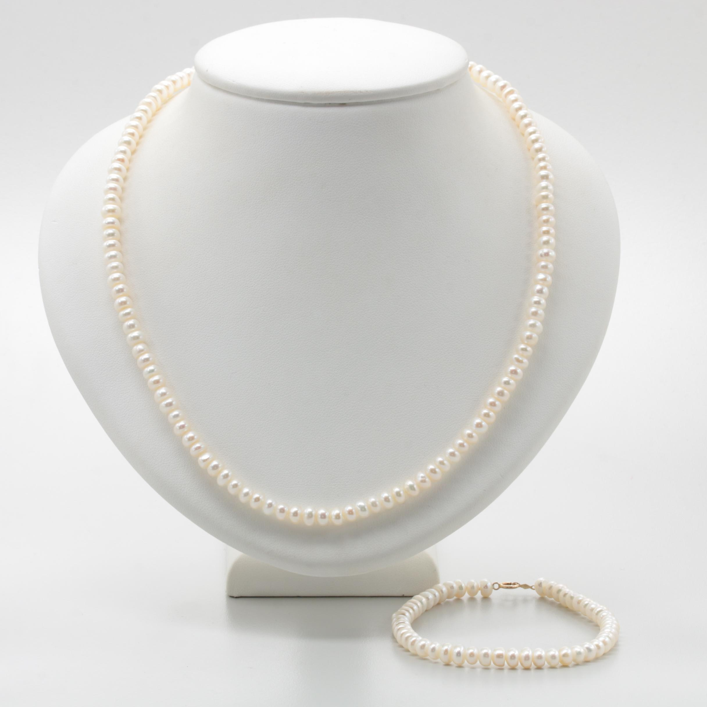 10K Yellow Gold Cultured Pearl Necklace and Bracelet Set