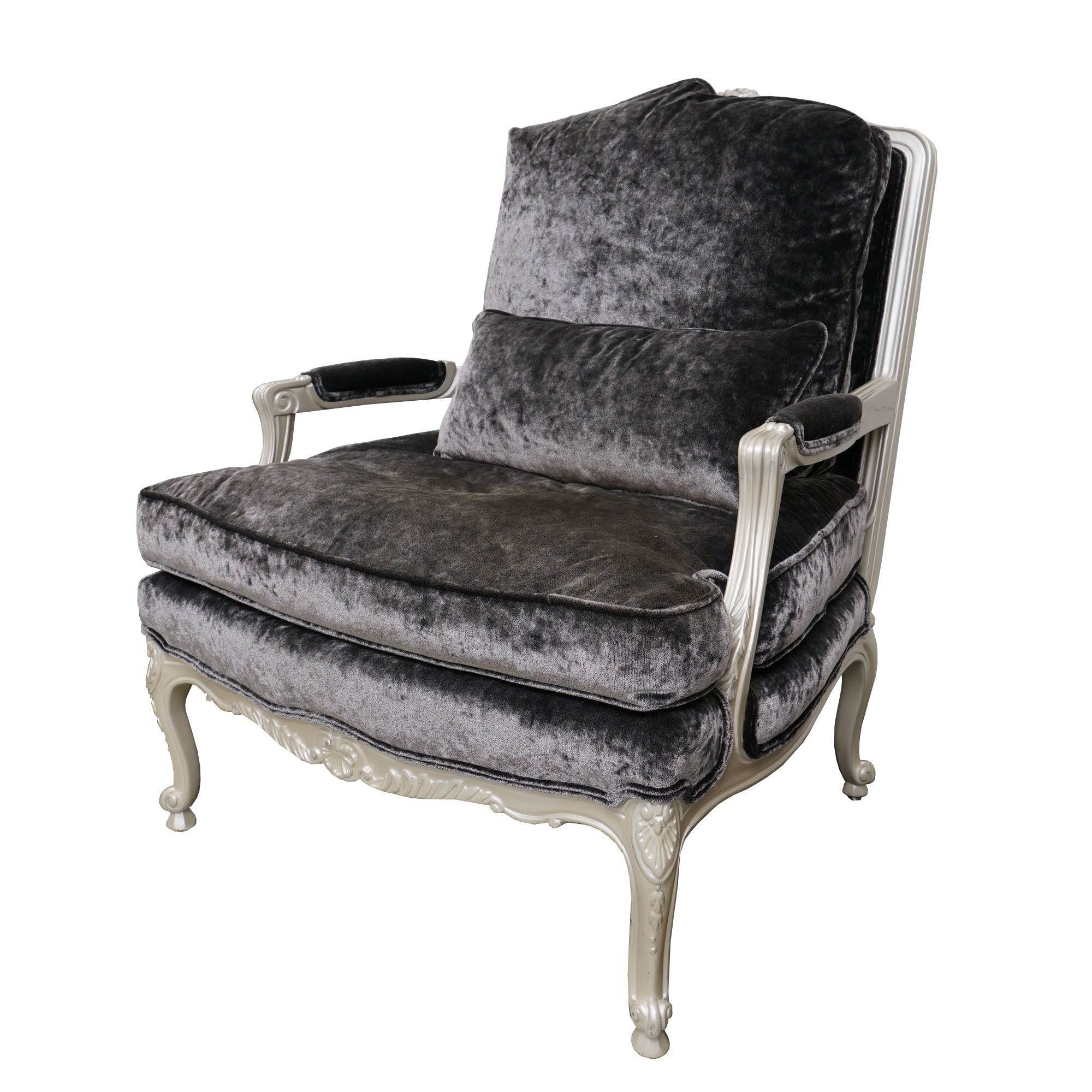 Louis XV Style Painted Fauteuil with Calvin Klein Velvet Upholstery