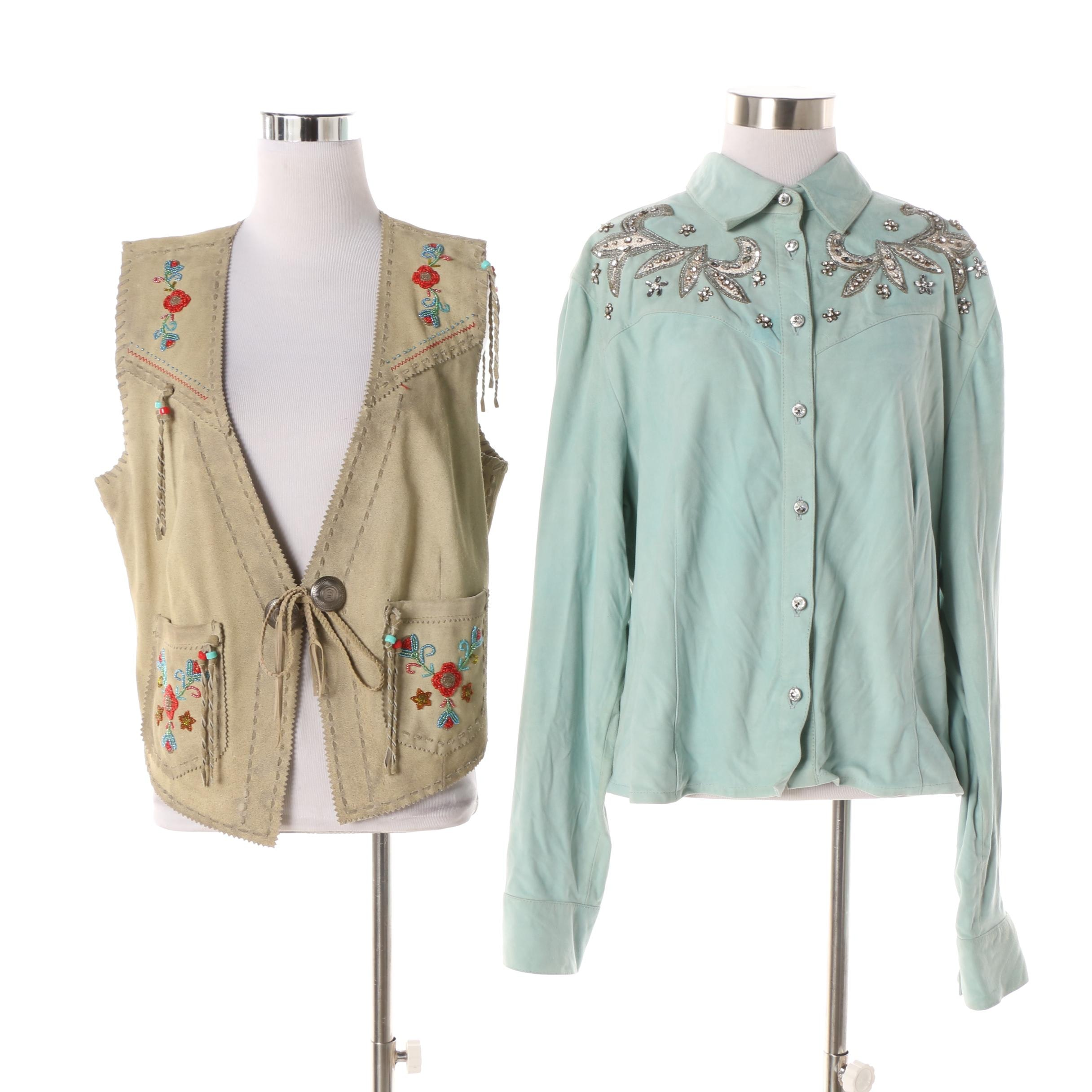Women's Double D Ranch of Yoakum, Texas Embellished Suede Shirt and Vest