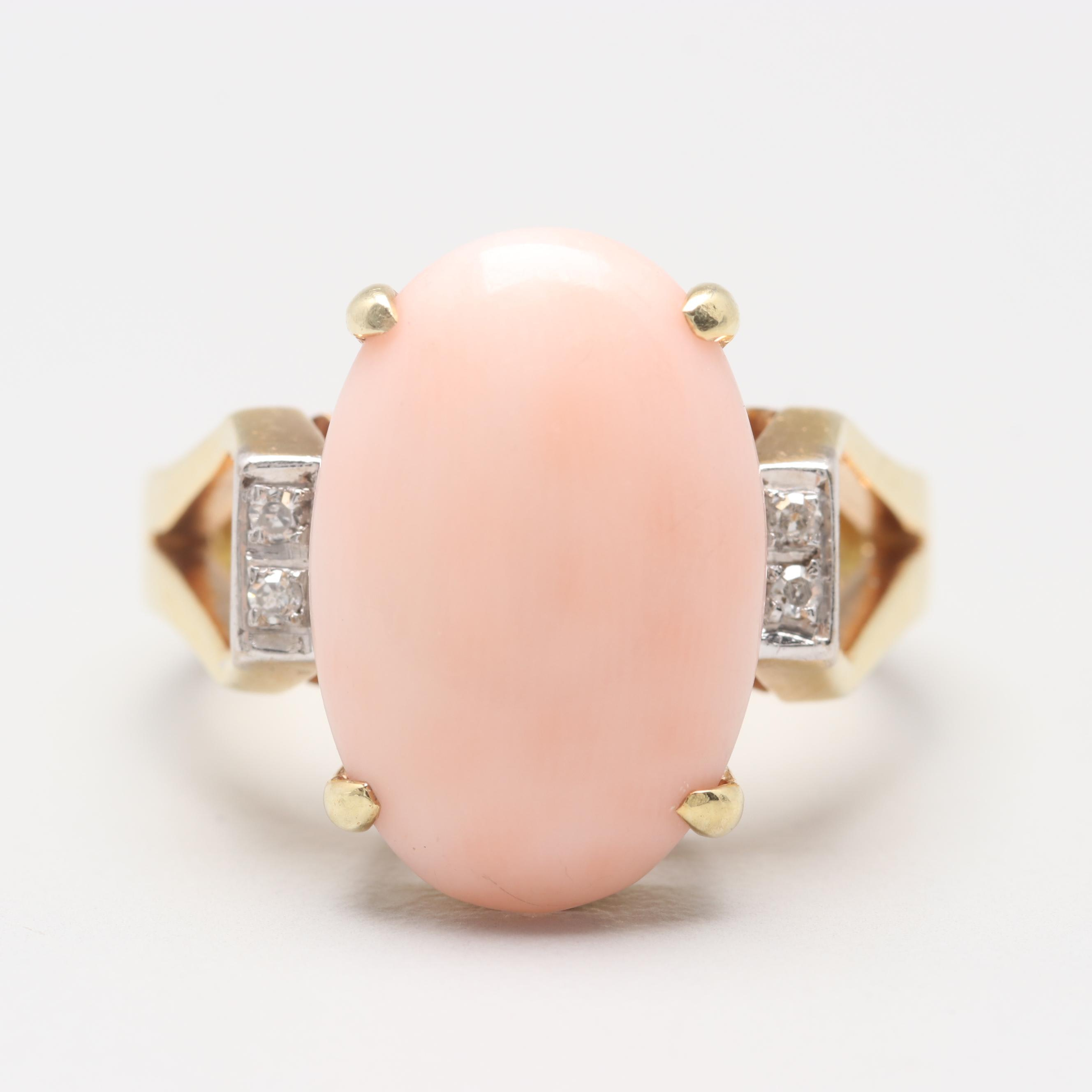 Vintage 14K Yellow Gold Angel Skin Coral and Diamond Ring