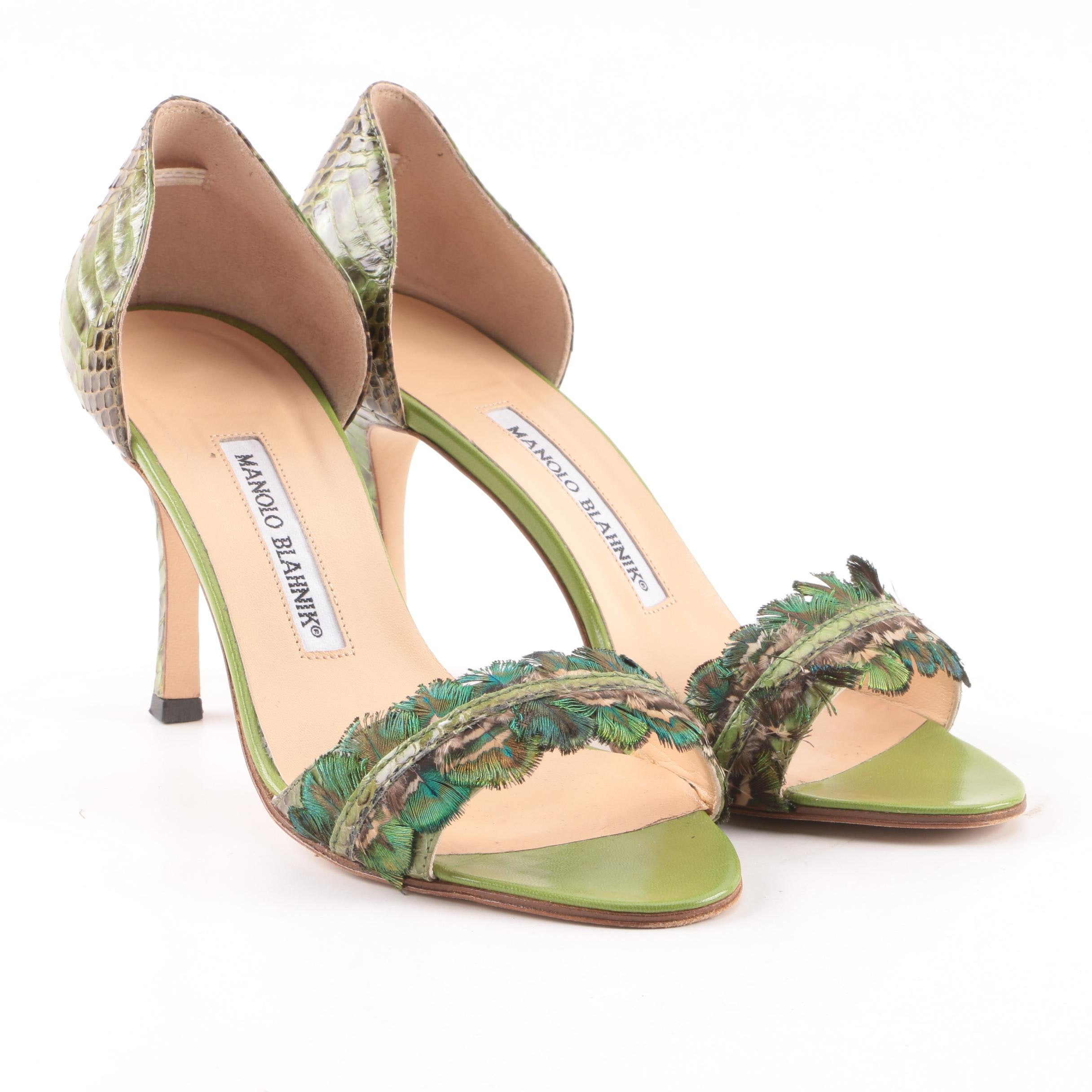 Manolo Blahnik Zoulado Python and Feather Green High Heels