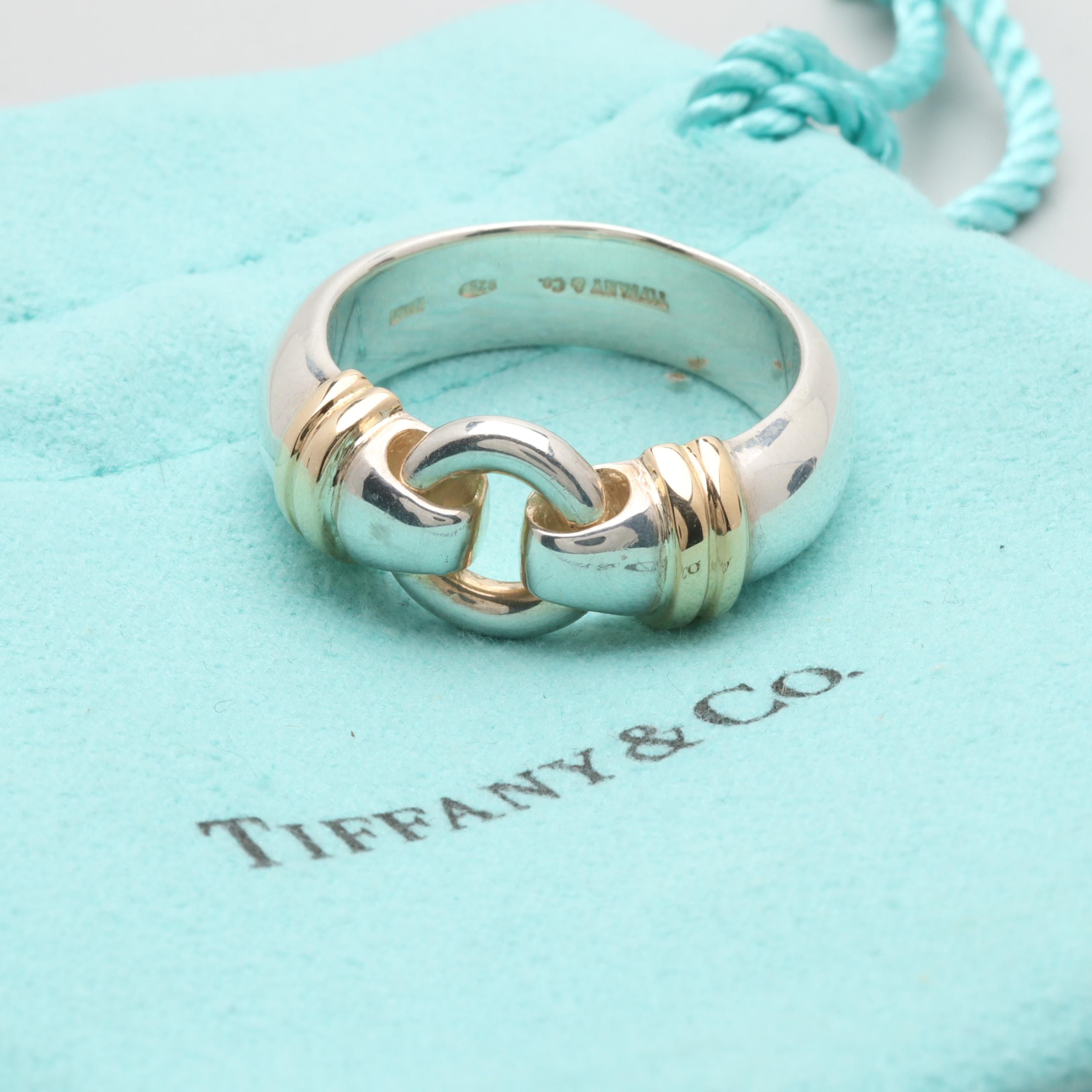Tiffany & Co. Sterling Silver Ring with 18K Yellow Gold Accents
