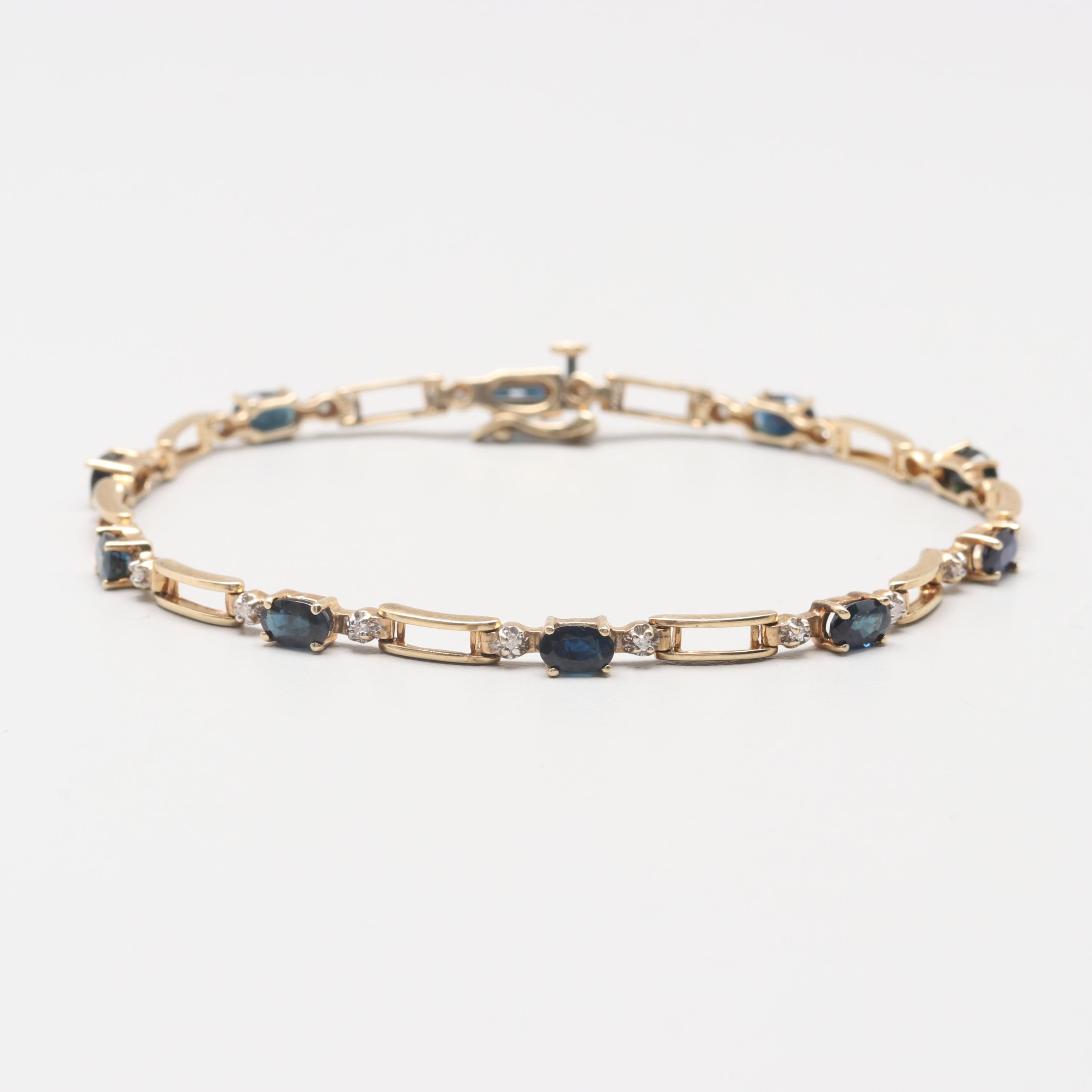10K Yellow Gold Blue Sapphire and Diamond Bracelet