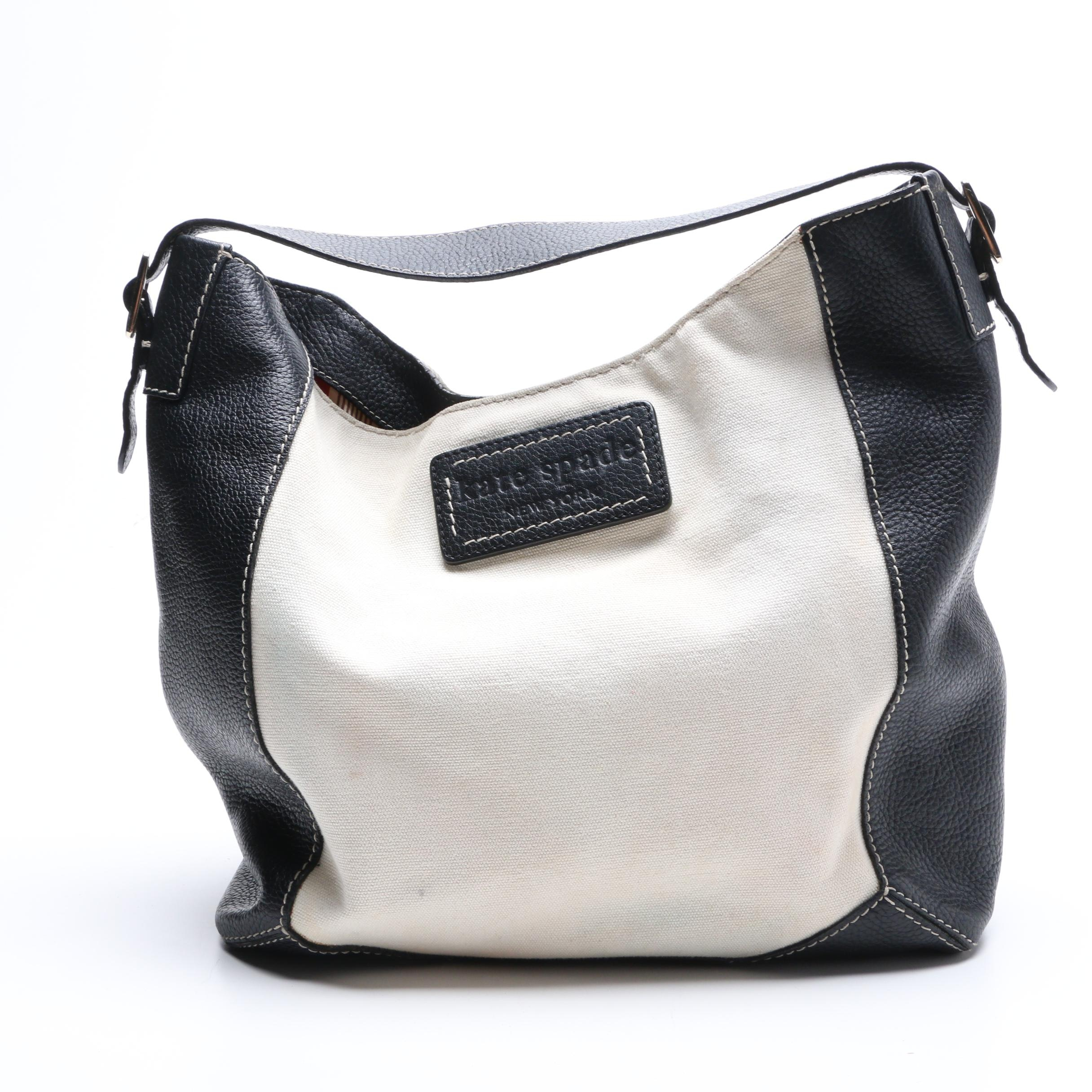 Kate Spade New York Leather and Canvas Hobo Bag