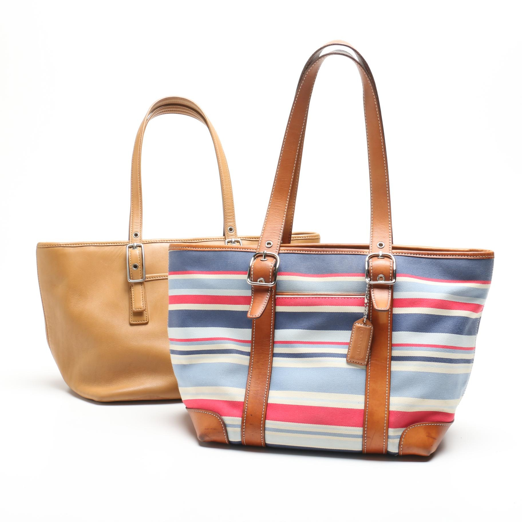 Coach Legacy Leather Market Tote and Striped Canvas Hamptons Tote Bag