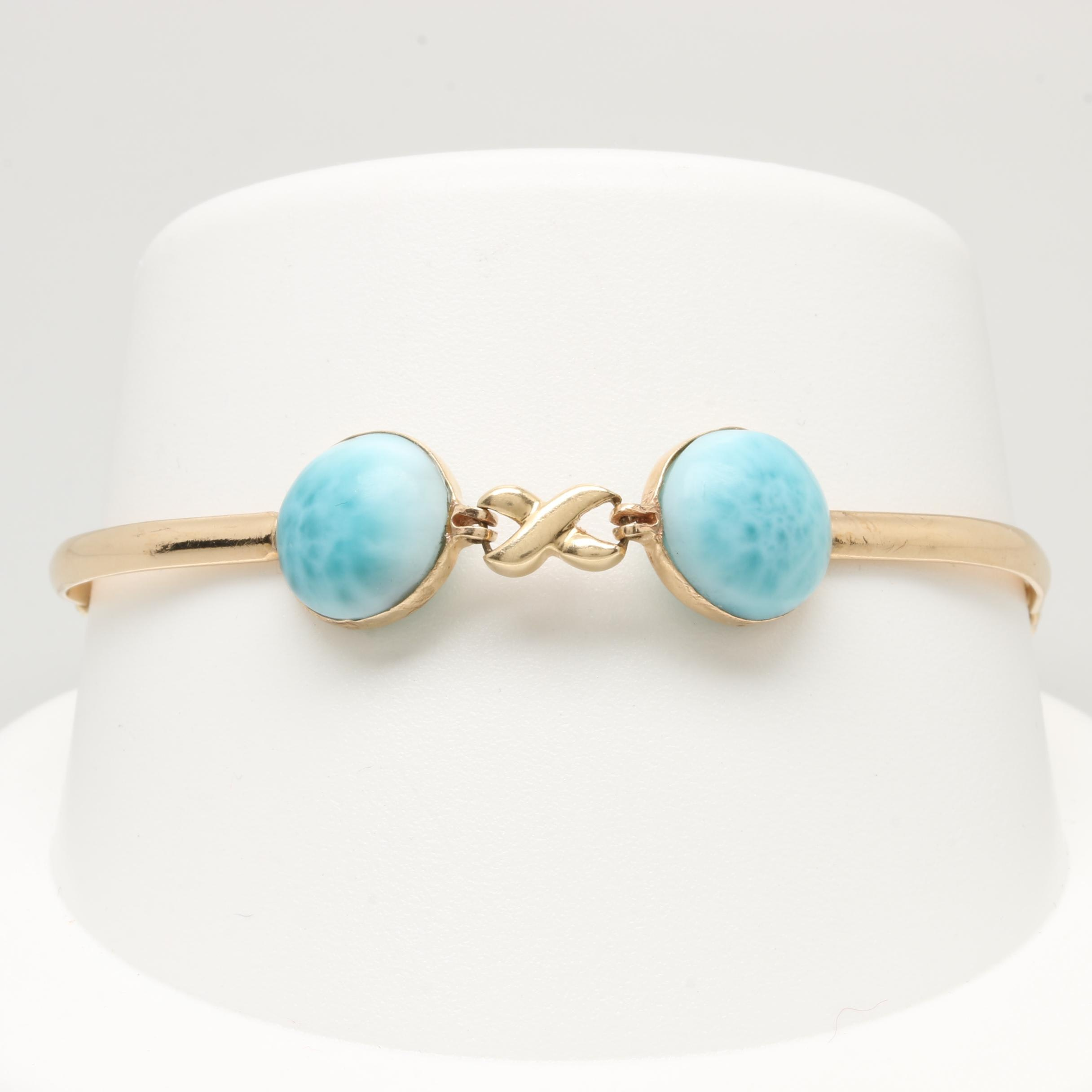 14K Yellow Gold Larimar Bracelet