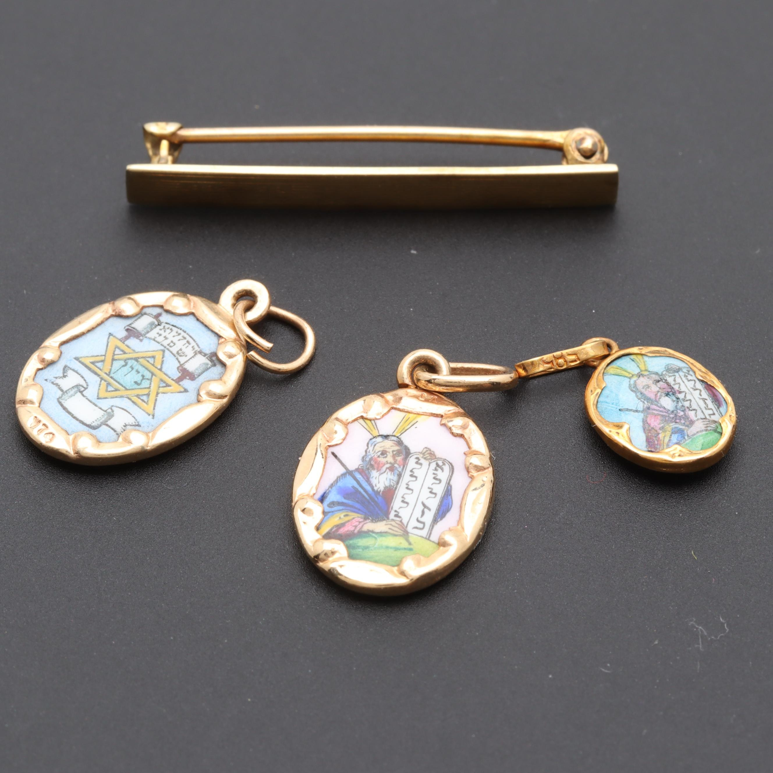 10K and 14K Yellow Gold Enamel Bar Brooch and Judaica Pendants